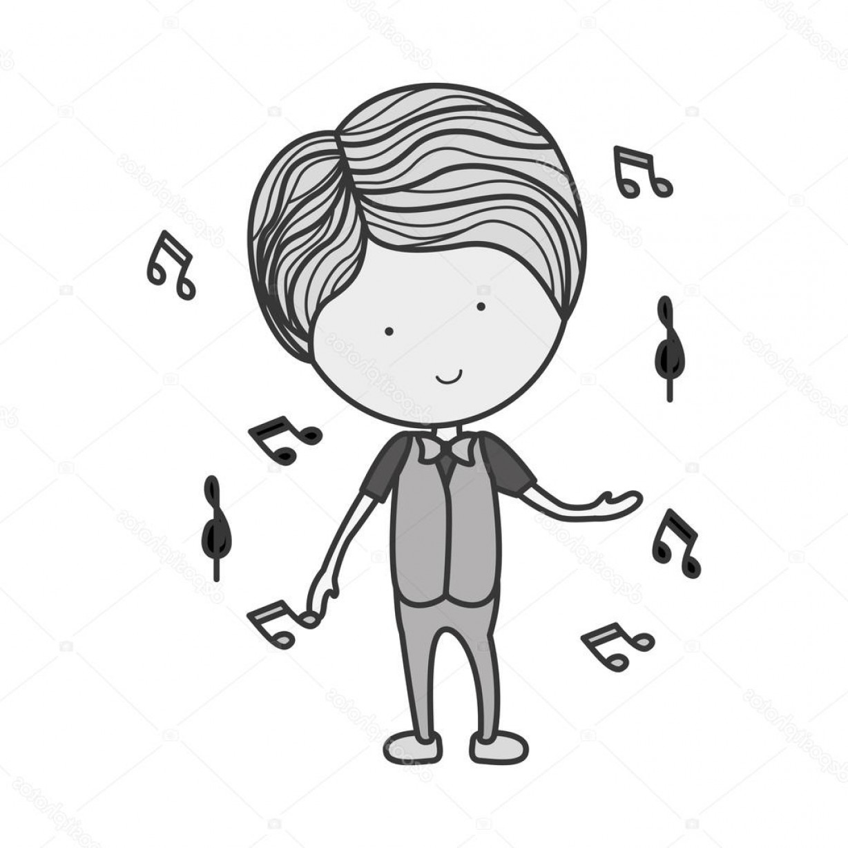 Dancing Musical Notes Vector: Stock Illustration Silhouette Man Dancing With Musical