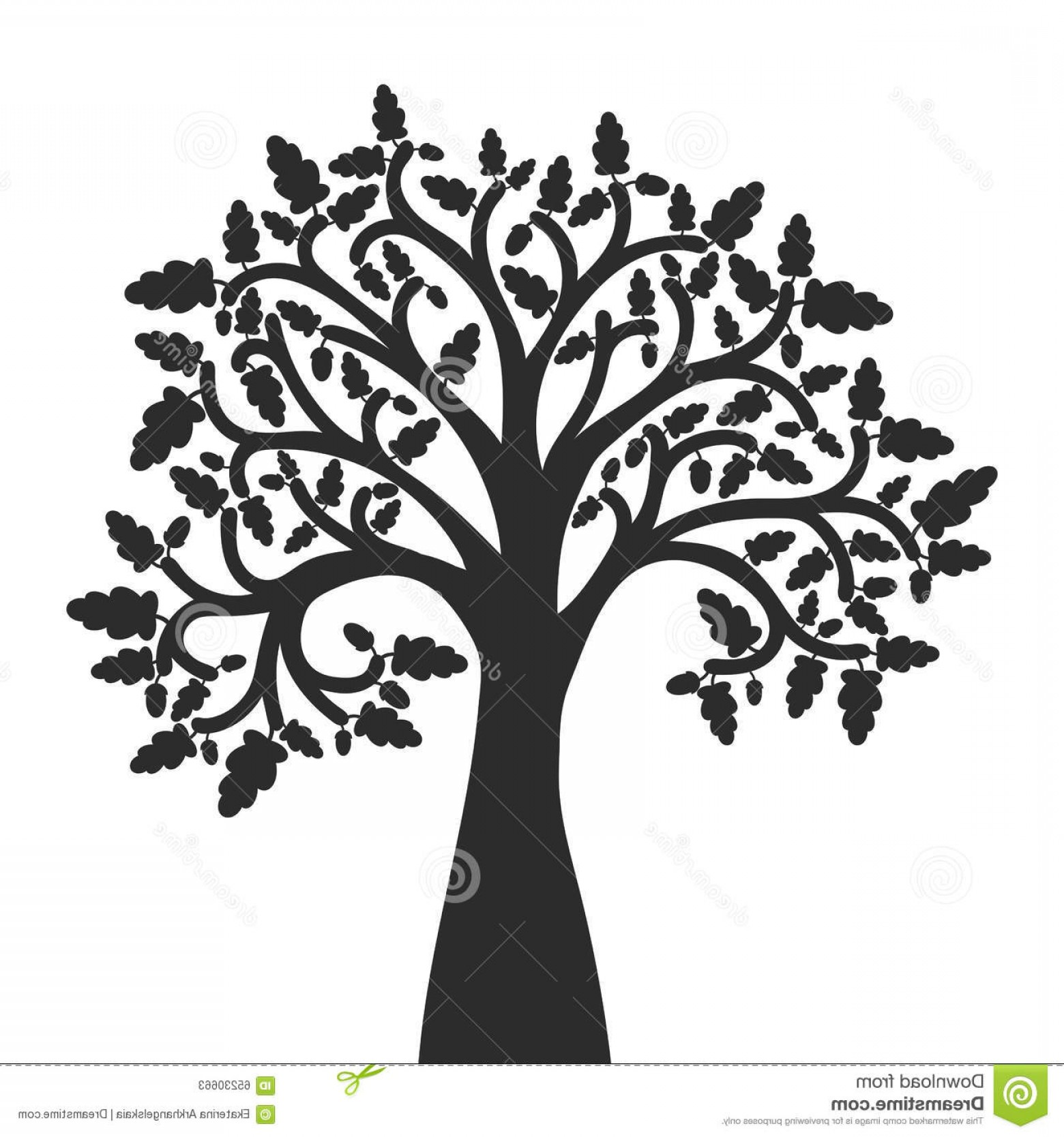 Oak Tree Silhouette Vector Graphics: Stock Illustration Silhouette Oak Tree Leaves Acorns Vector Illustration Image