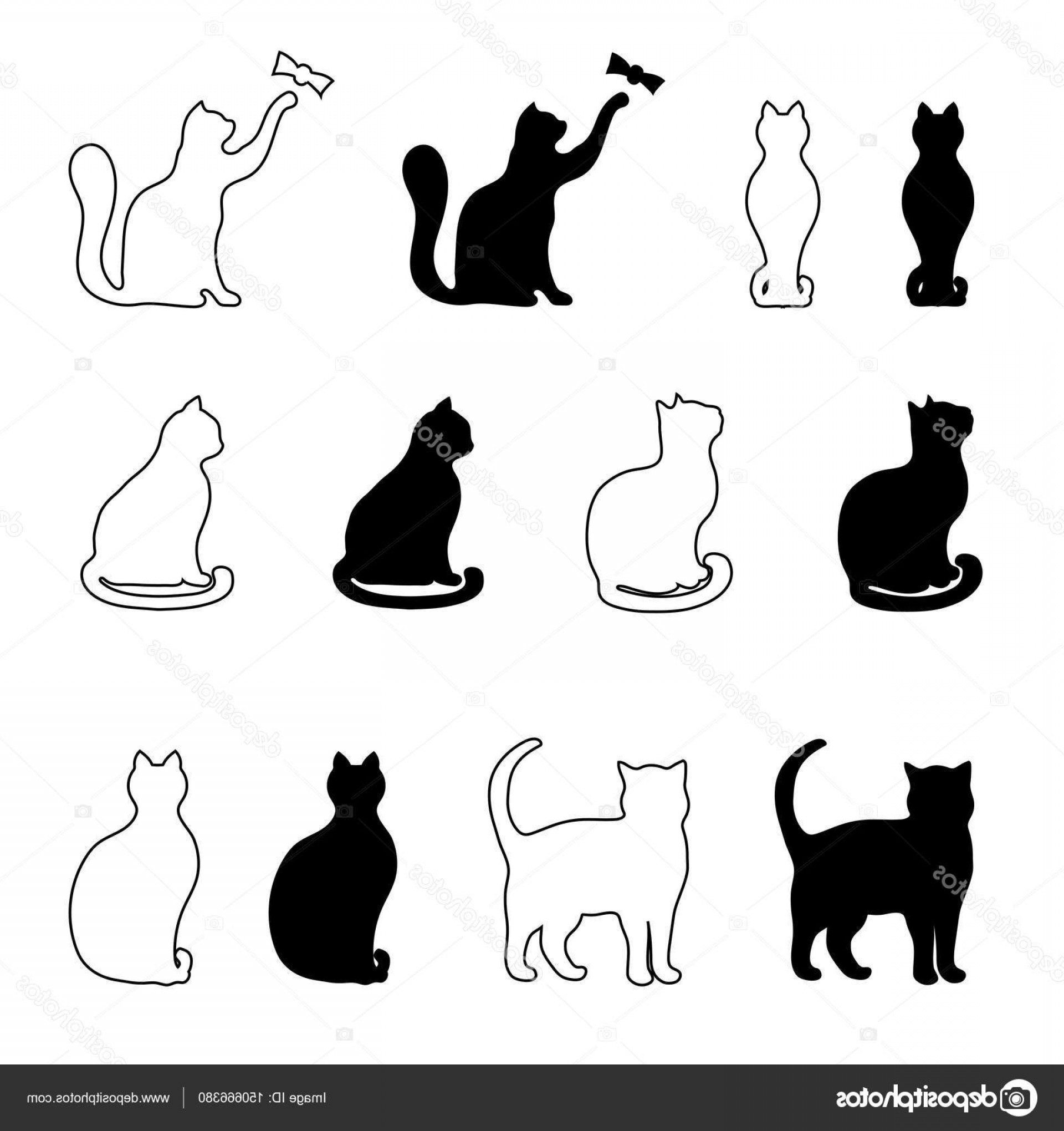 Malee Cat Head Silhouette Vector: Stock Illustration Silhouette Of A Black Cat