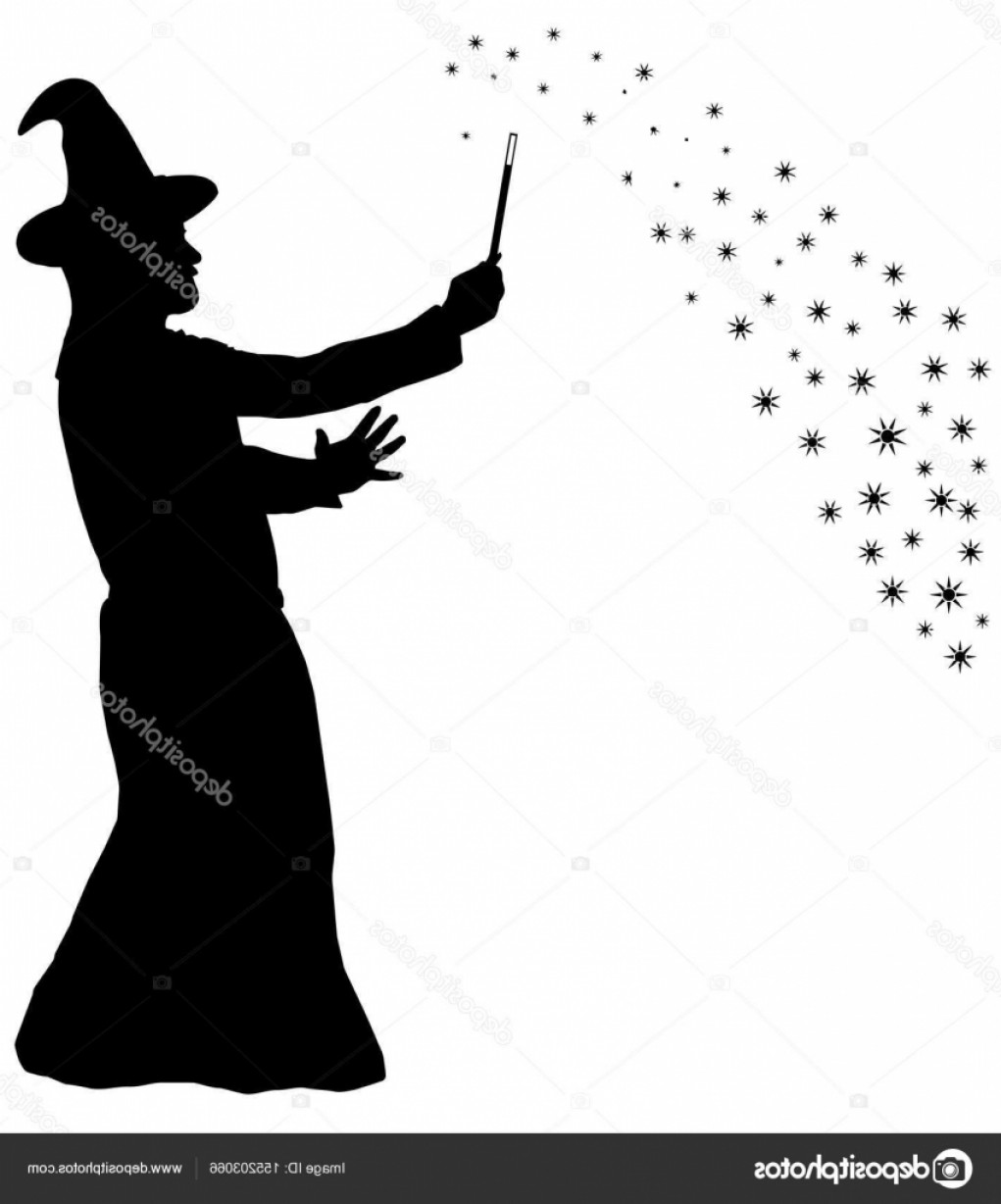 Wizard Silhouette Vector: Stock Illustration Silhouette Of Bearded Wizard In