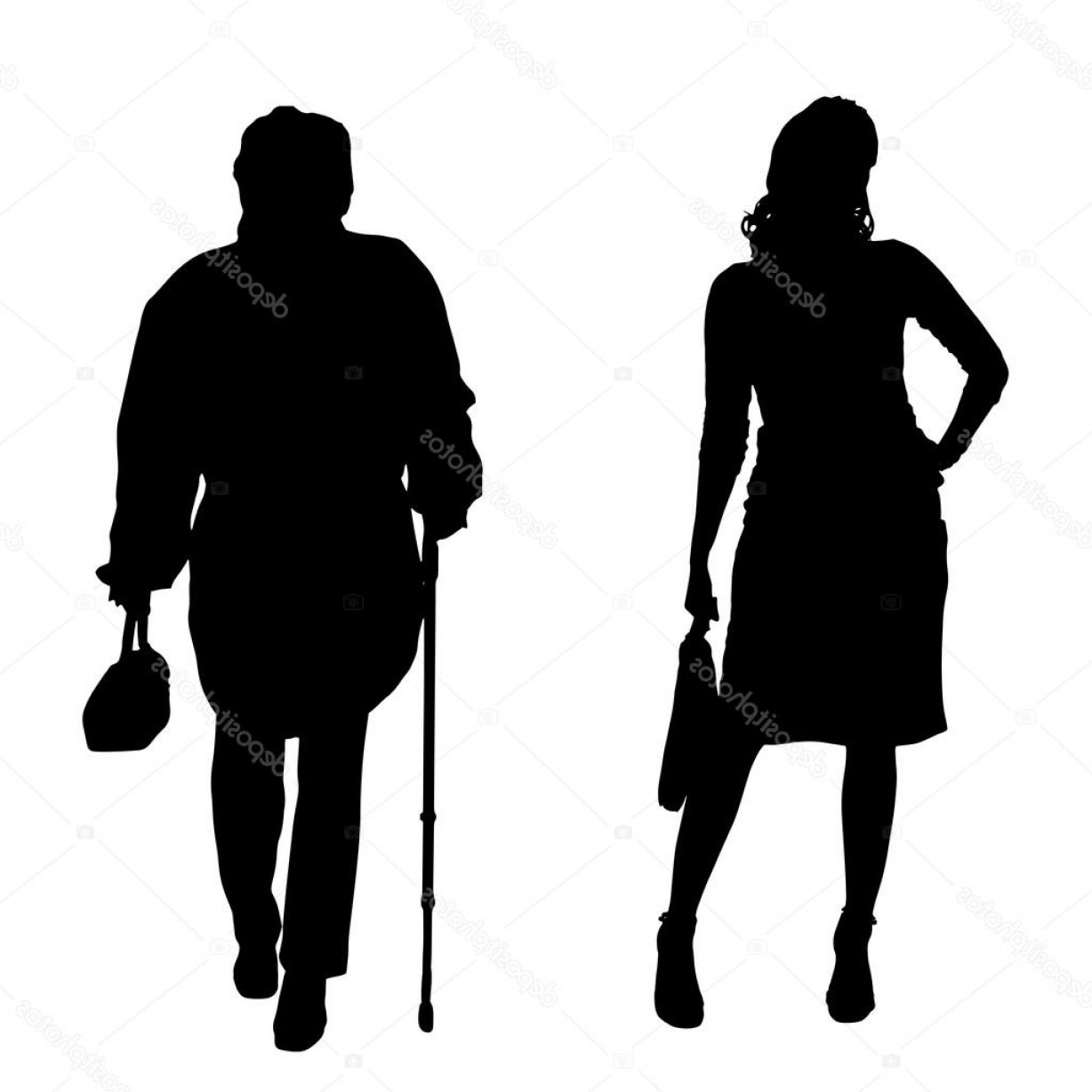 Young Woman Silhouette Vector: Stock Illustration Silhouette Of Old And Young