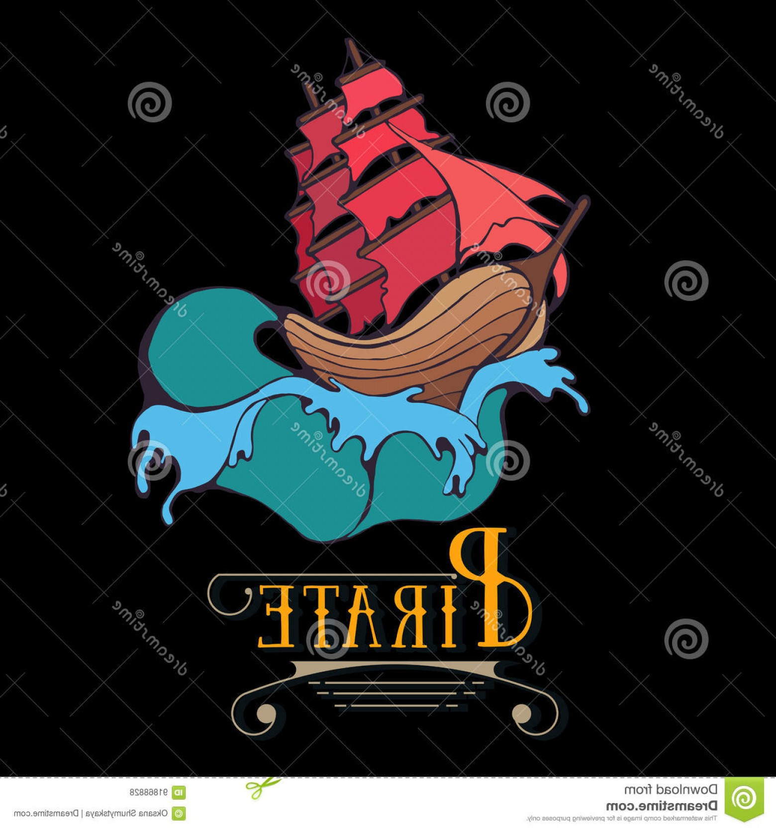 Waves With Cruise Ship Silhouette Vector: Stock Illustration Silhouette Pirate Ship Waves Sail Label Calligraphy Old School Tattoo Graphic Games Frigate Marine Colorful Image