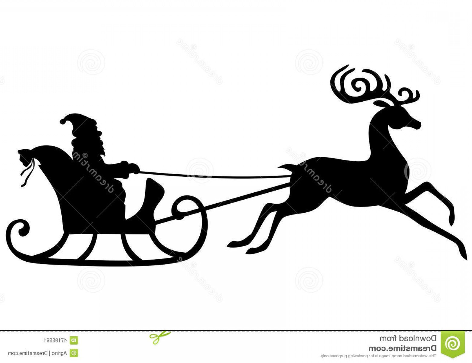 Black Santa Sleigh Vector: Stock Illustration Silhouette Santa Claus Riding Deer Sleigh Vector Illustrations Rides Pulled Beautiful Antlered Image