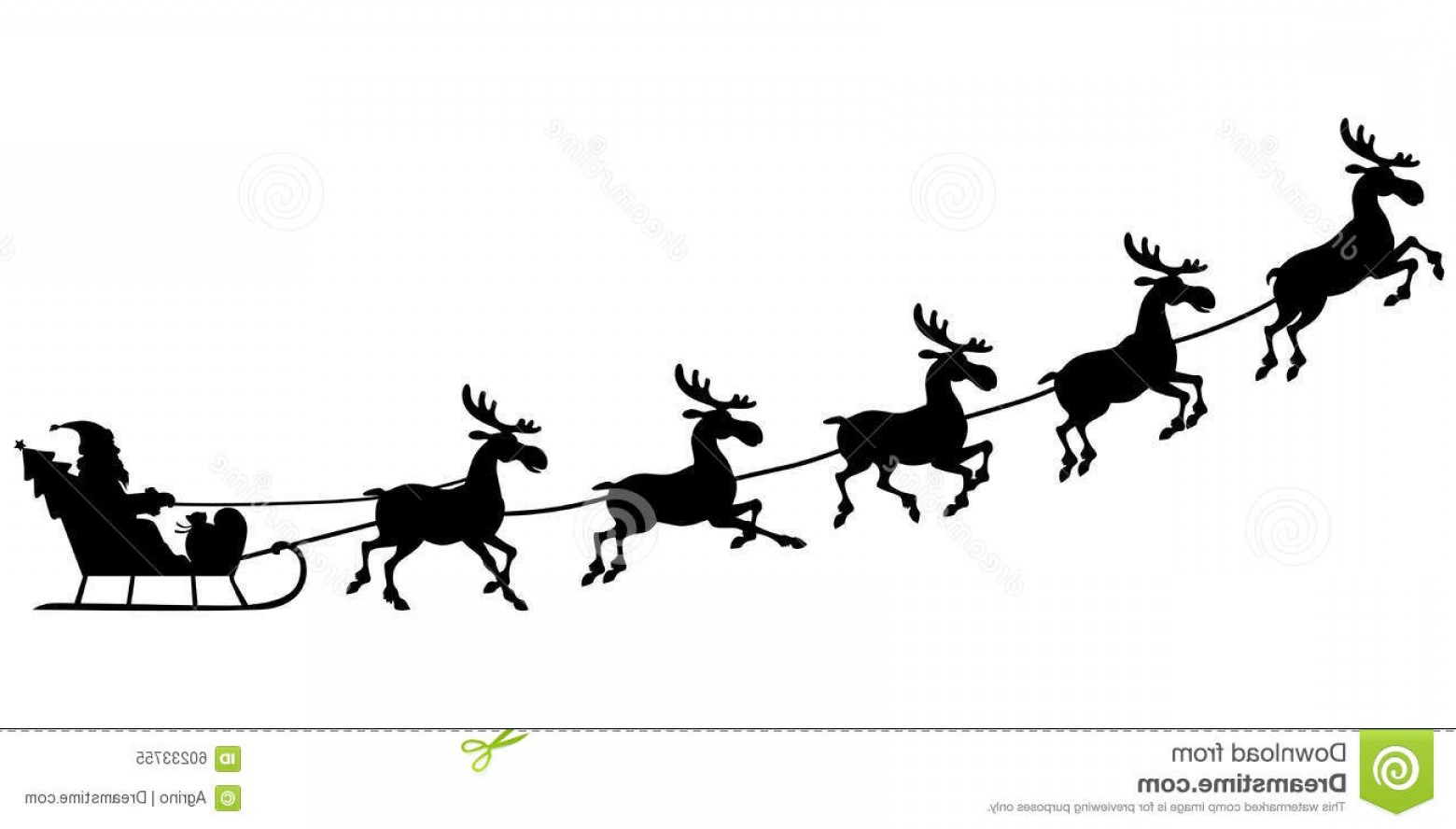 Black Santa Sleigh Vector: Stock Illustration Silhouette Santa Riding Reindeer Sleigh Vector Illustrations Claus Sitting Who Pull Image