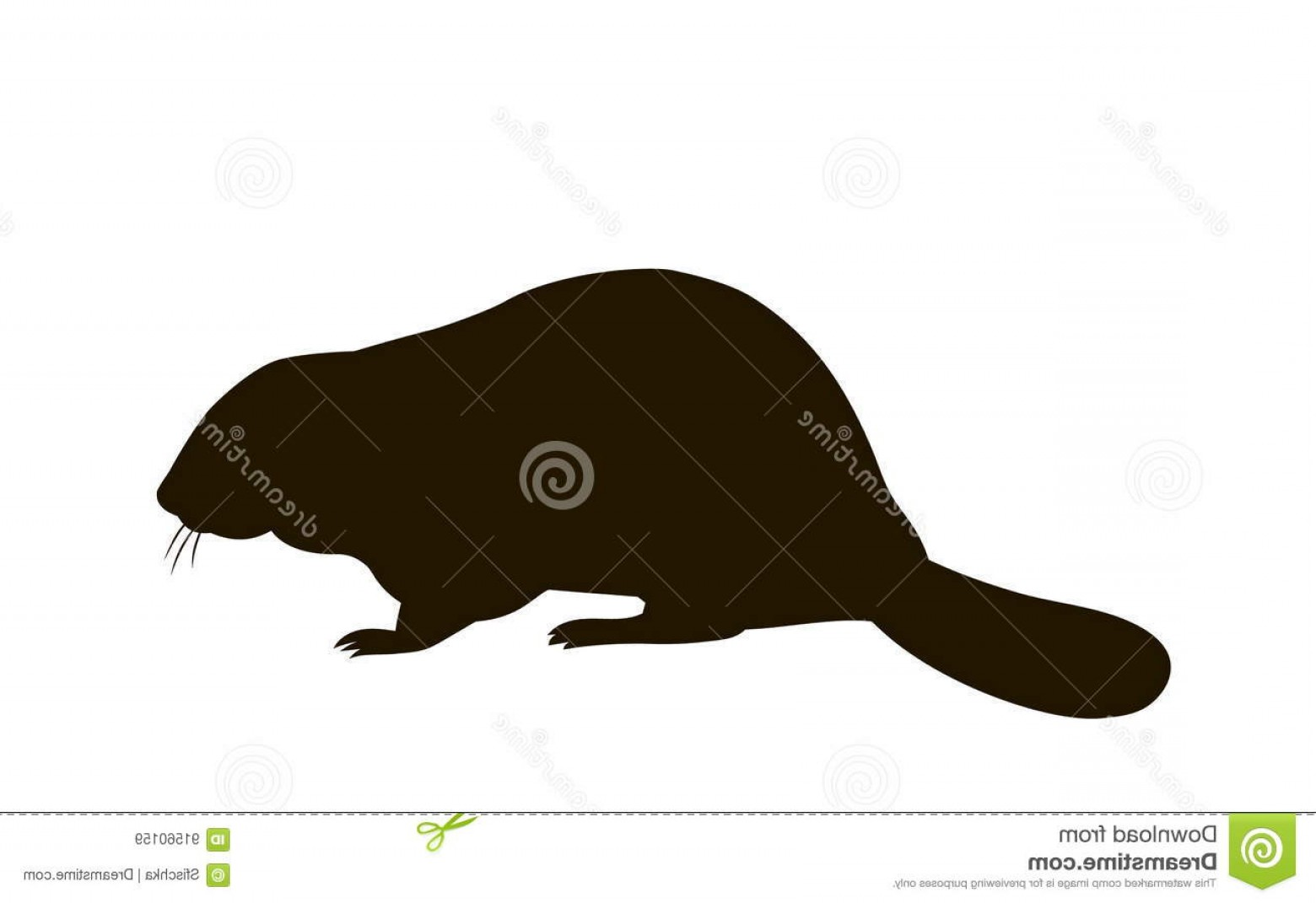 Vector Silhouette Beaver: Stock Illustration Silhouette Sitting Beaver Vector Image