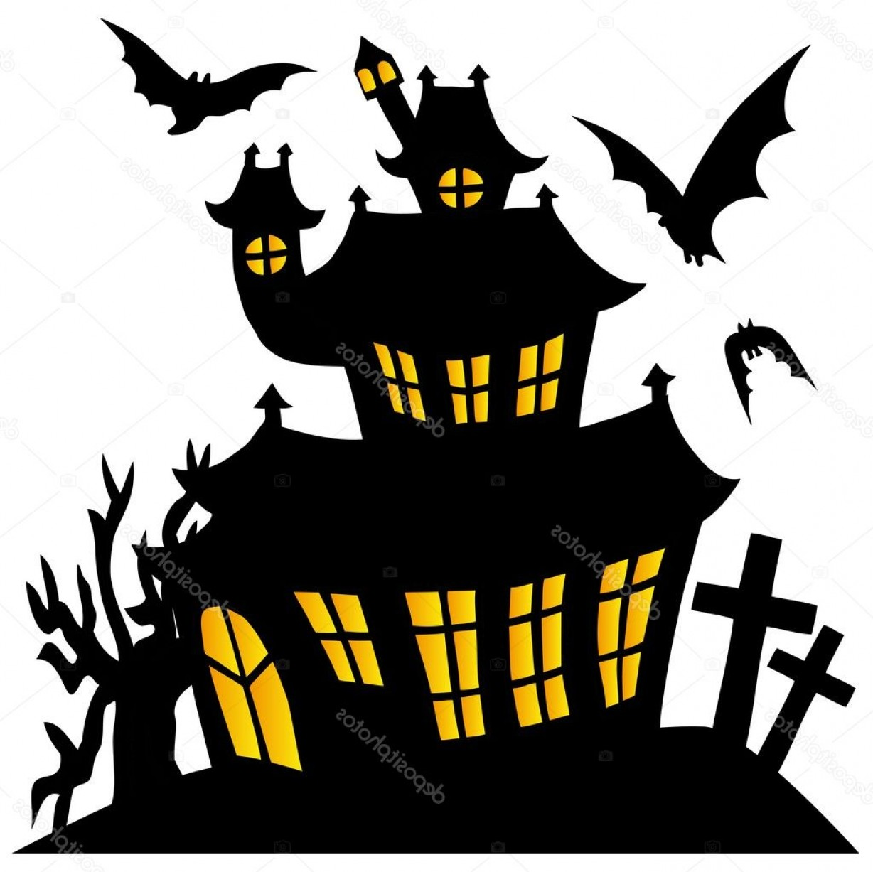 Halloween Haunted House Silhouette Vector: Stock Illustration Silhouette Spooky House