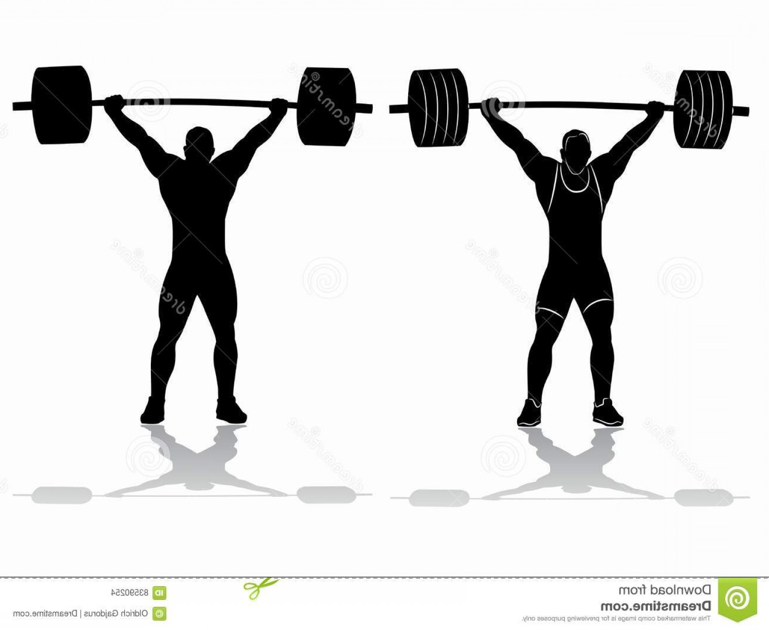 Weightlifter Vector Art: Stock Illustration Silhouette Weightlifter Vector Drawing Barbell Black White White Background Image
