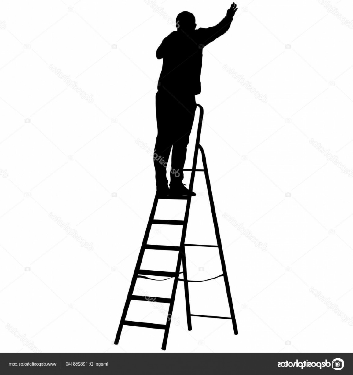 Ladder Silhouette Vector: Stock Illustration Silhouette Worker Climbing The Ladder