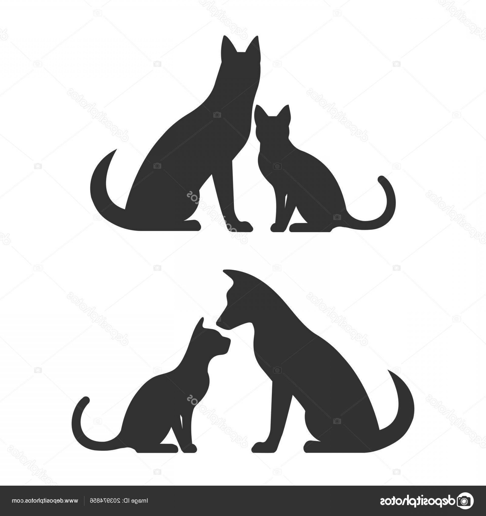 Dog And Cat Vector Illustration: Stock Illustration Silhouettes Dog Cat Vector Illustration