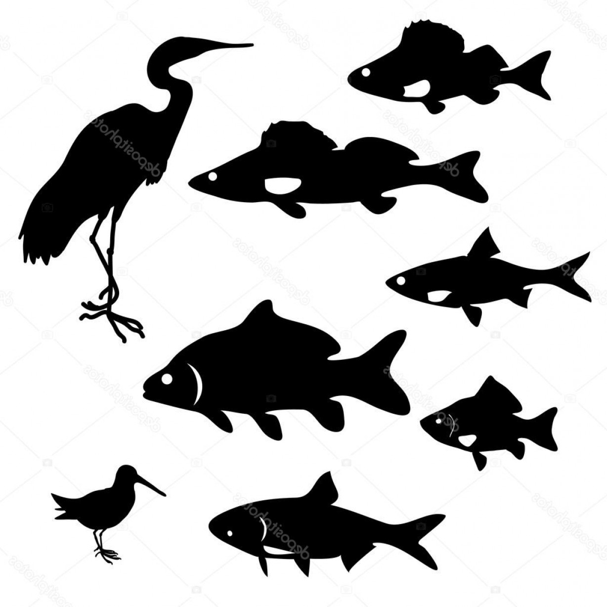 River Silhouette Vector Art: Stock Illustration Silhouettes Of River Fish