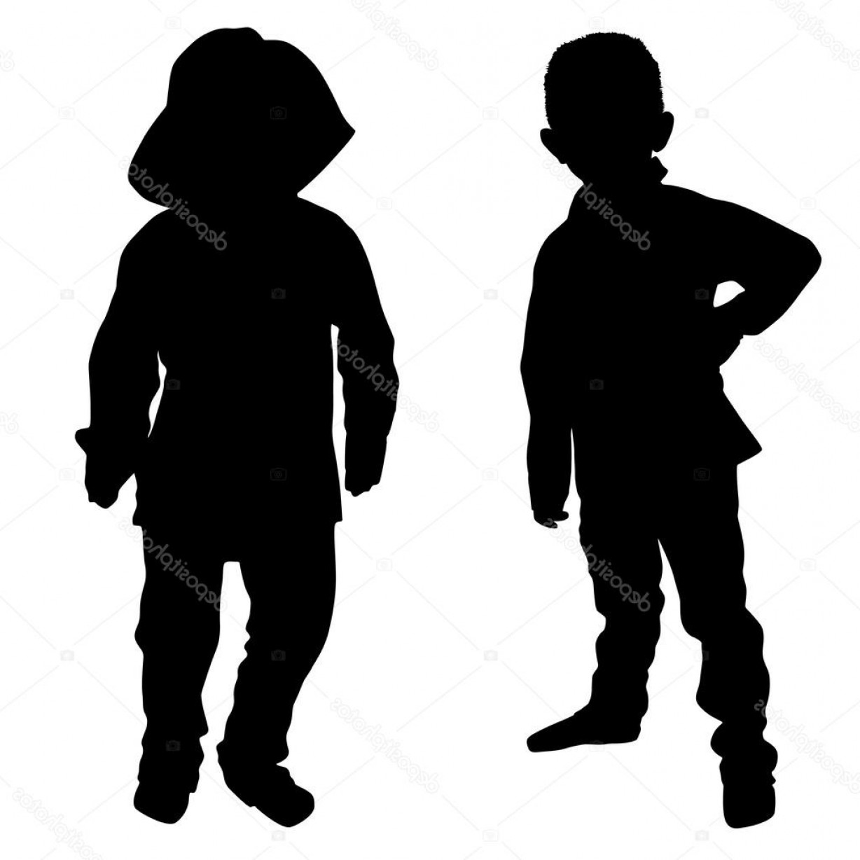 Little Boy Silhouette Vector: Stock Illustration Silhouettes Of Two Little Boys