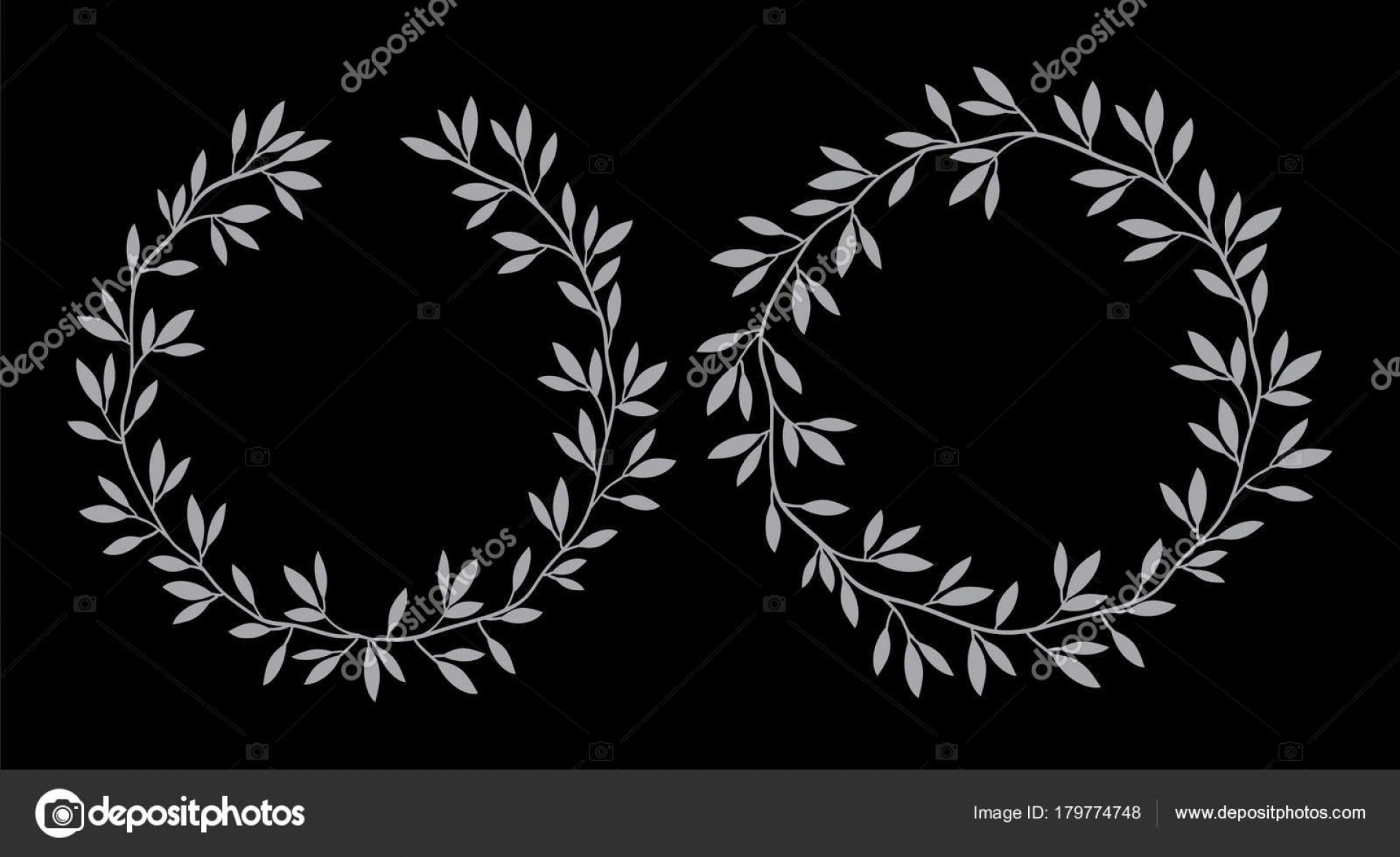 Floral Laurel Wreath Vector: Stock Illustration Silhouettes Vintage Floral Frames Laurel