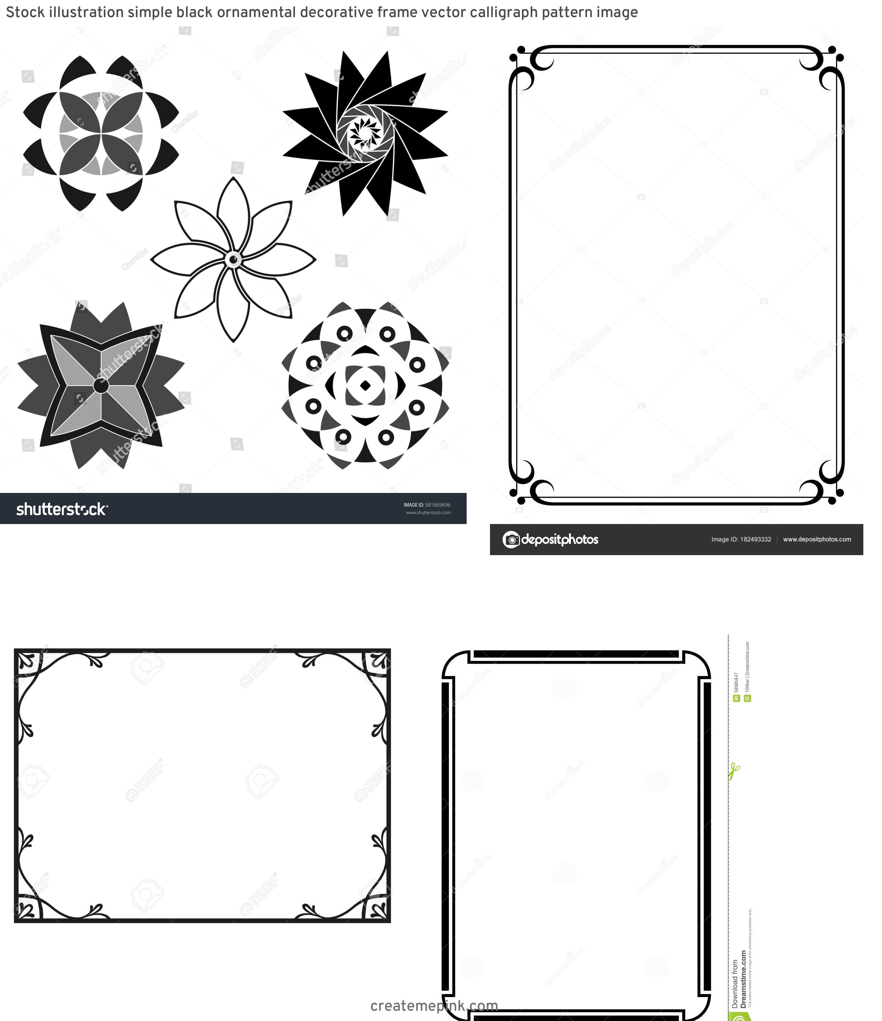 Simple Black Decorative Vector Patterns: Stock Illustration Simple Black Ornamental Decorative Frame Vector Calligraph Pattern Image
