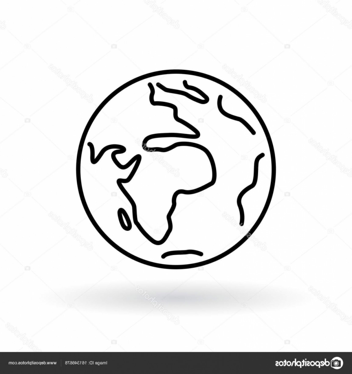 World Icon Vector Simple: Stock Illustration Simple Planet Icon Earth Sign