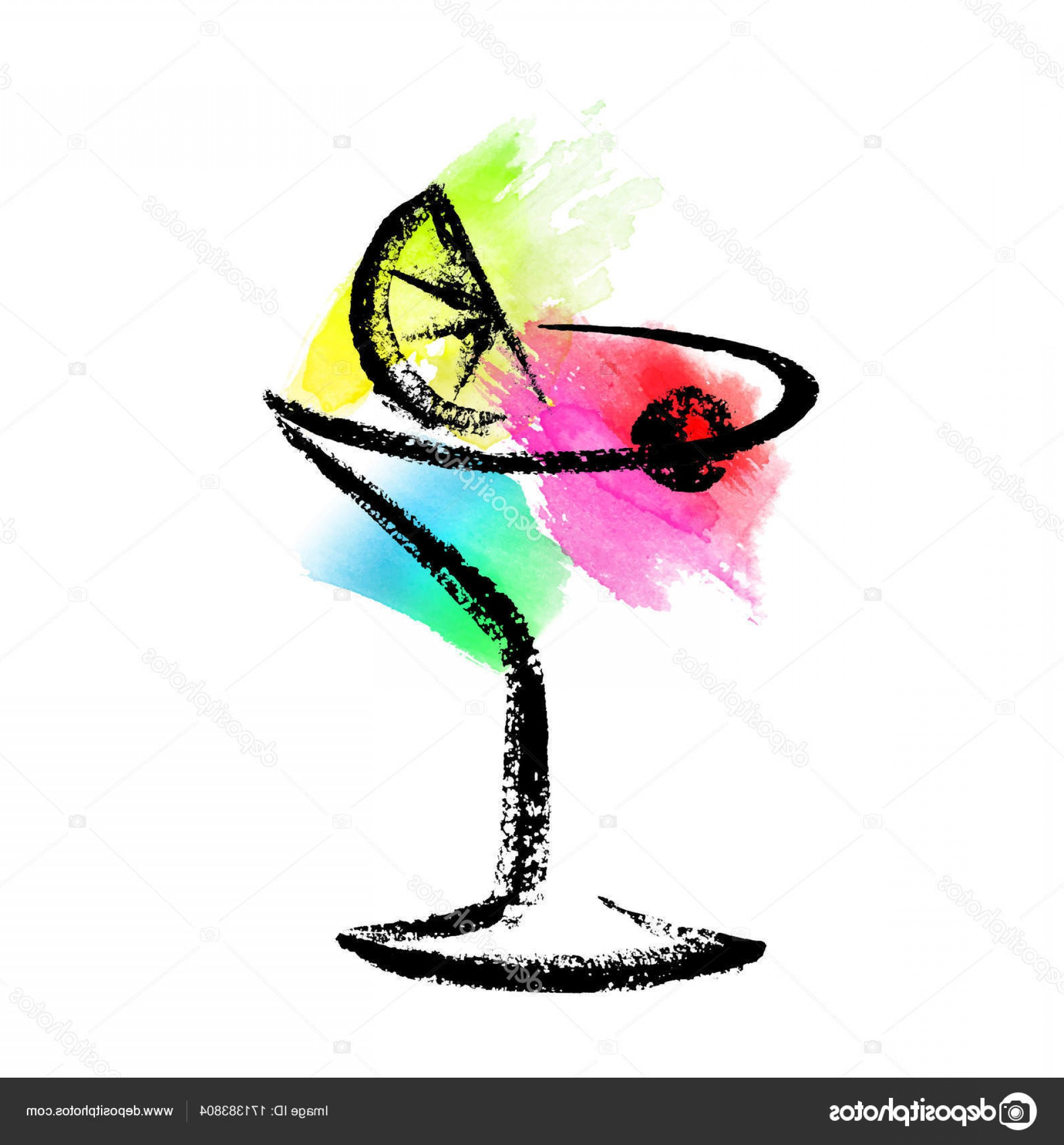 Cocktail Glasses Vector Art Decor: Stock Illustration Sketch Of Cocktail Glass On