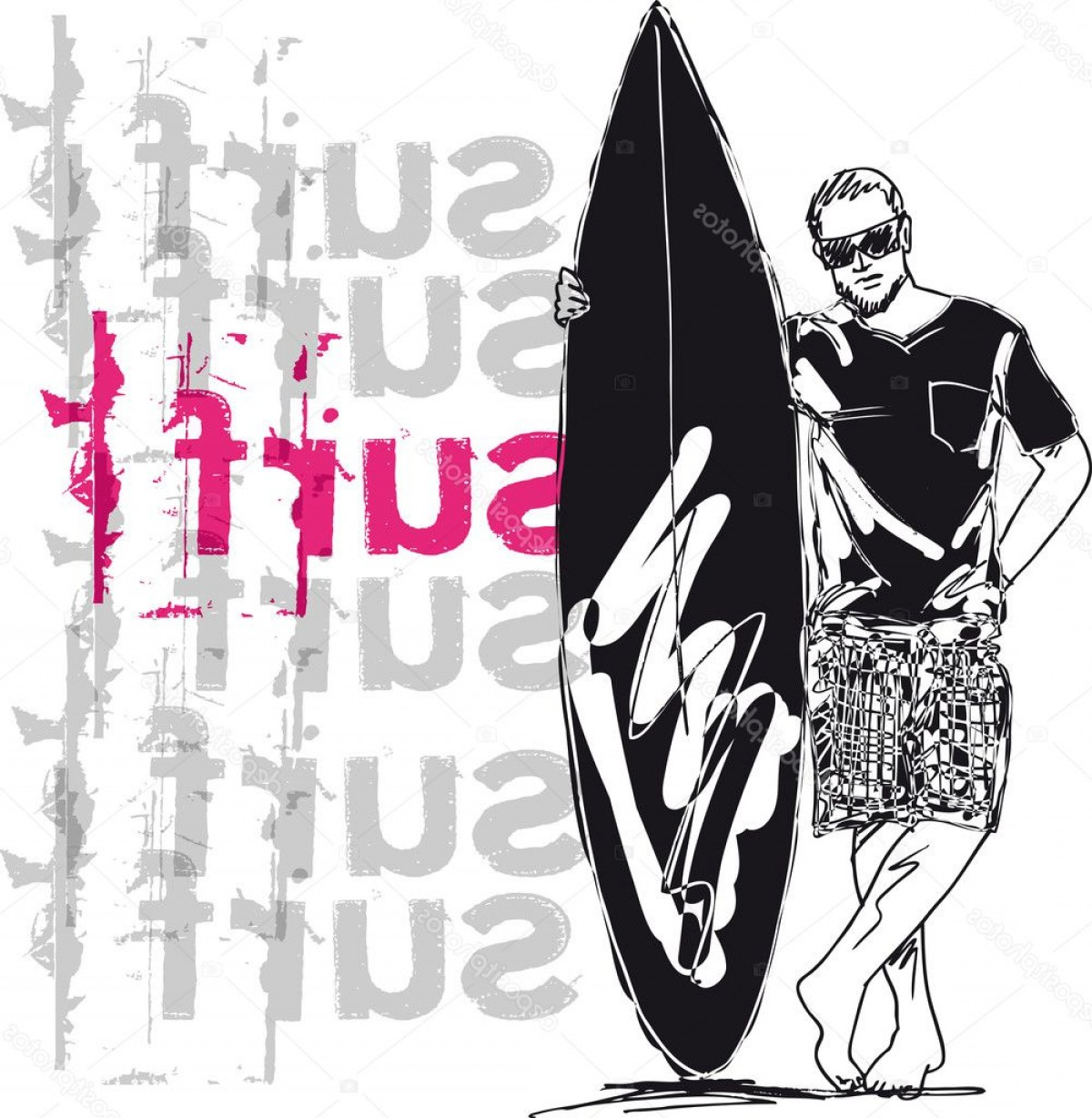 Surfboard Vector Drawing: Stock Illustration Sketch Of Man With Surfboard