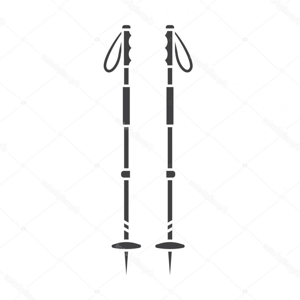 Vector Pole: Stock Illustration Ski Poles Outline Vector Icon