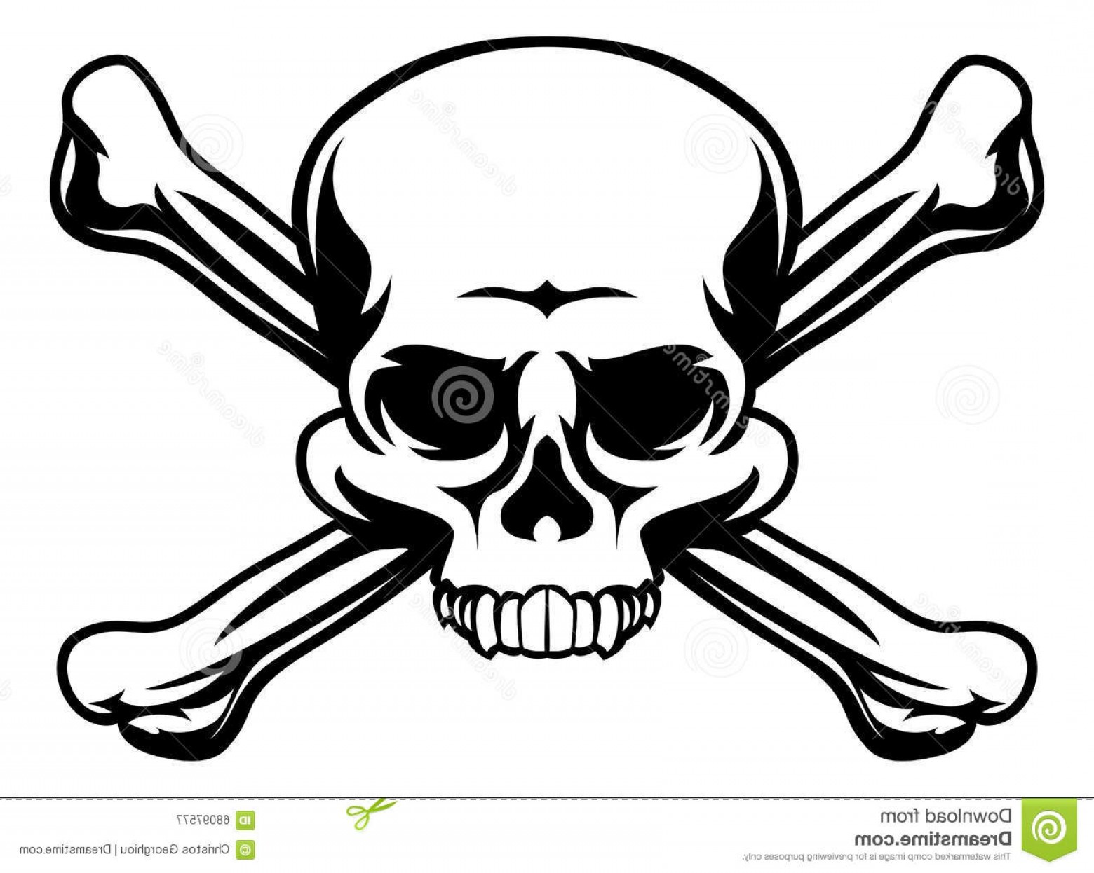 Skull ND Crossbones Vector: Stock Illustration Skull Crossbones Symbol Icon Illustration Like Pirates Jolly Roger Sign Image