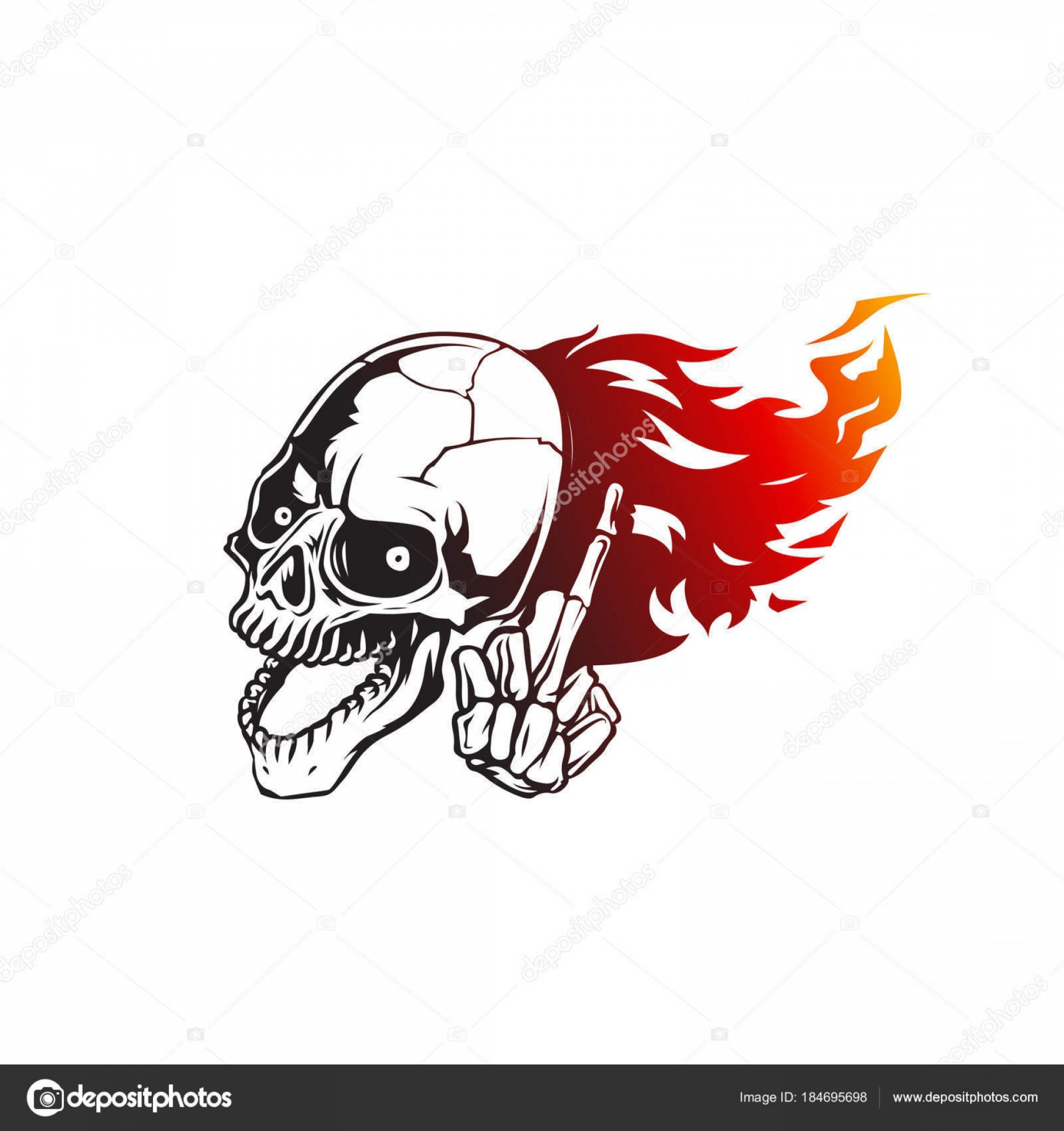 Harley-Davidson Flame Vector Silhouette: Stock Illustration Skull Flames Front Face Logo