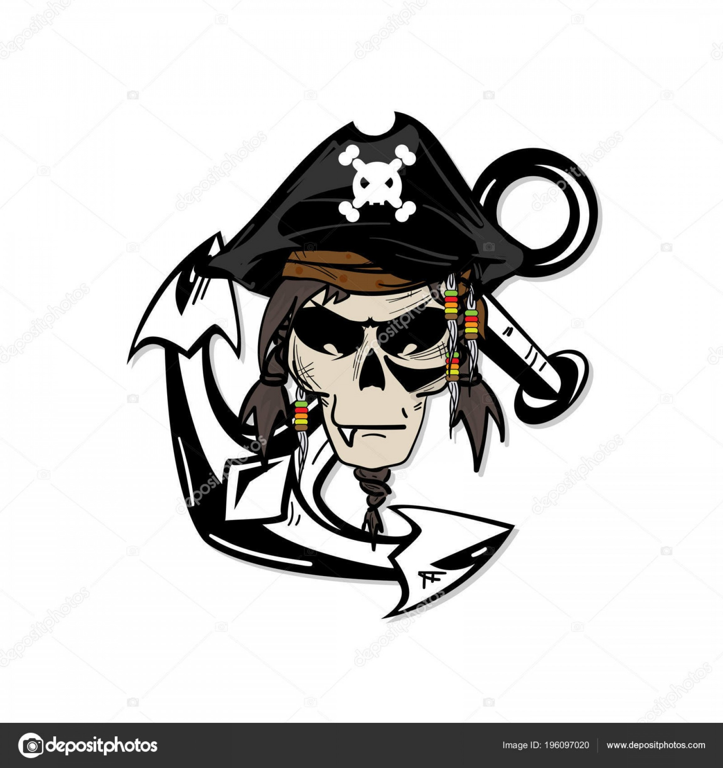 Harley-Davidson Flame Vector Silhouette: Stock Illustration Skull Graphic Pirate Cartoon Character