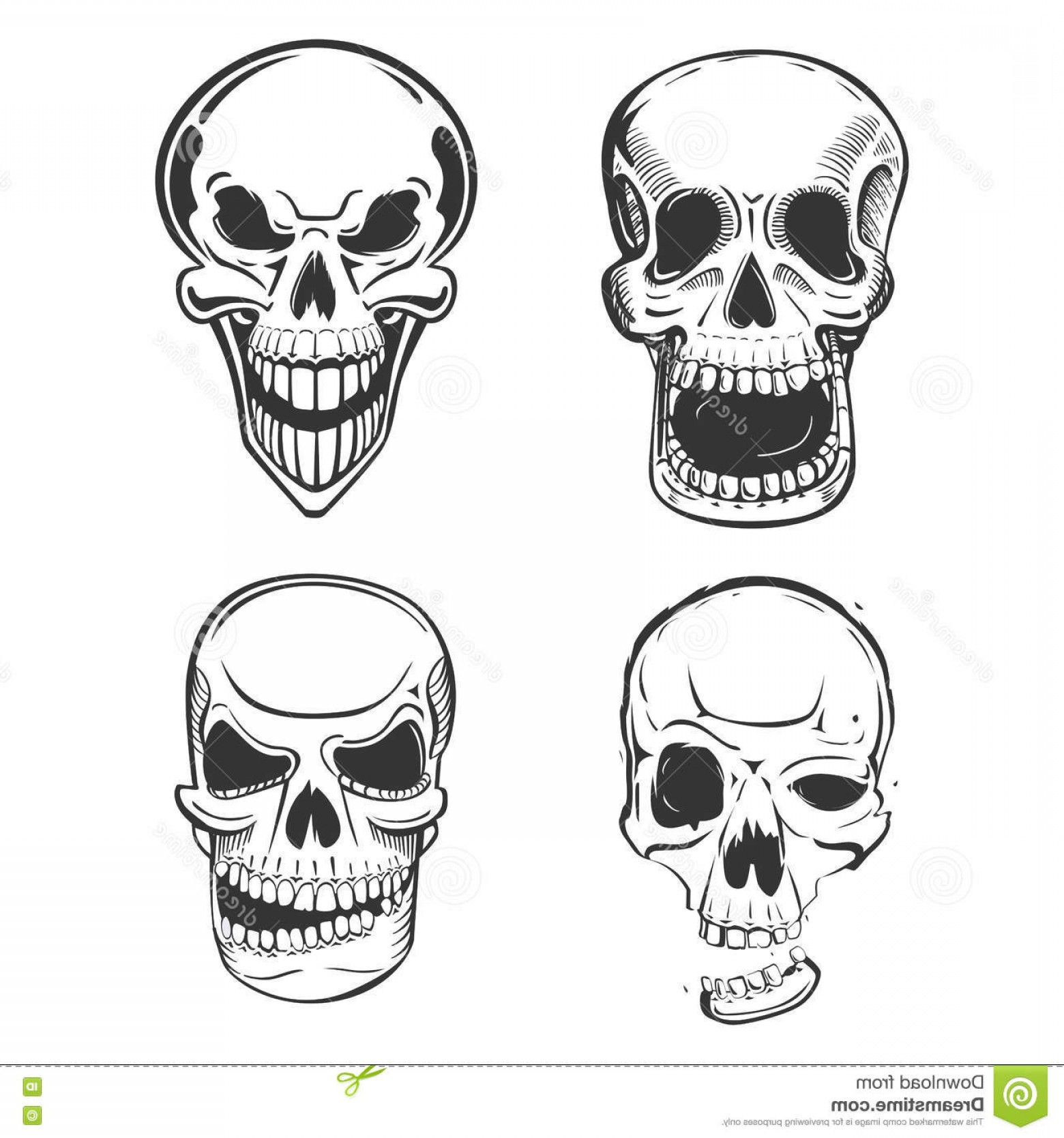 His And Hers Skulls Vector: Stock Illustration Skull Vector Tattoo Art Sketch Style Set Terrifying Head Jaw Smirk May Be Used Mascot Pirate Image