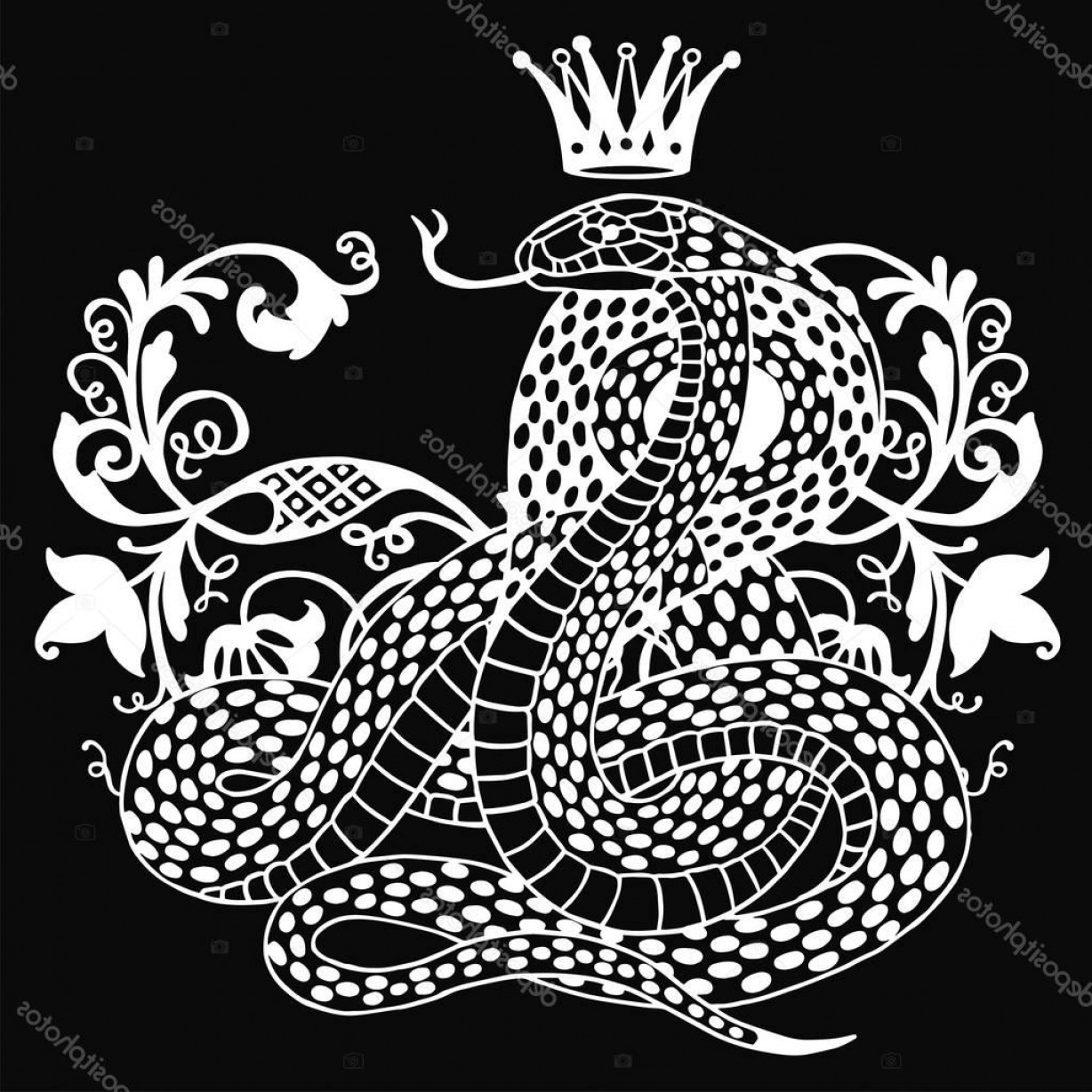 Snake Crown Vector: Stock Illustration Snake With Crown Illustration