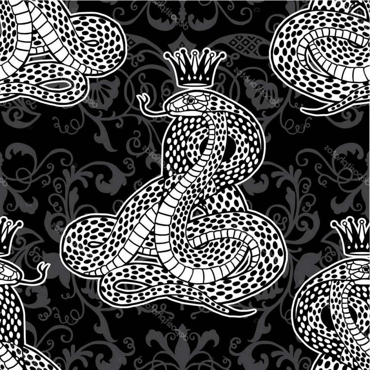 Snake Crown Vector: Stock Illustration Snake With Crown Seamless Pattern