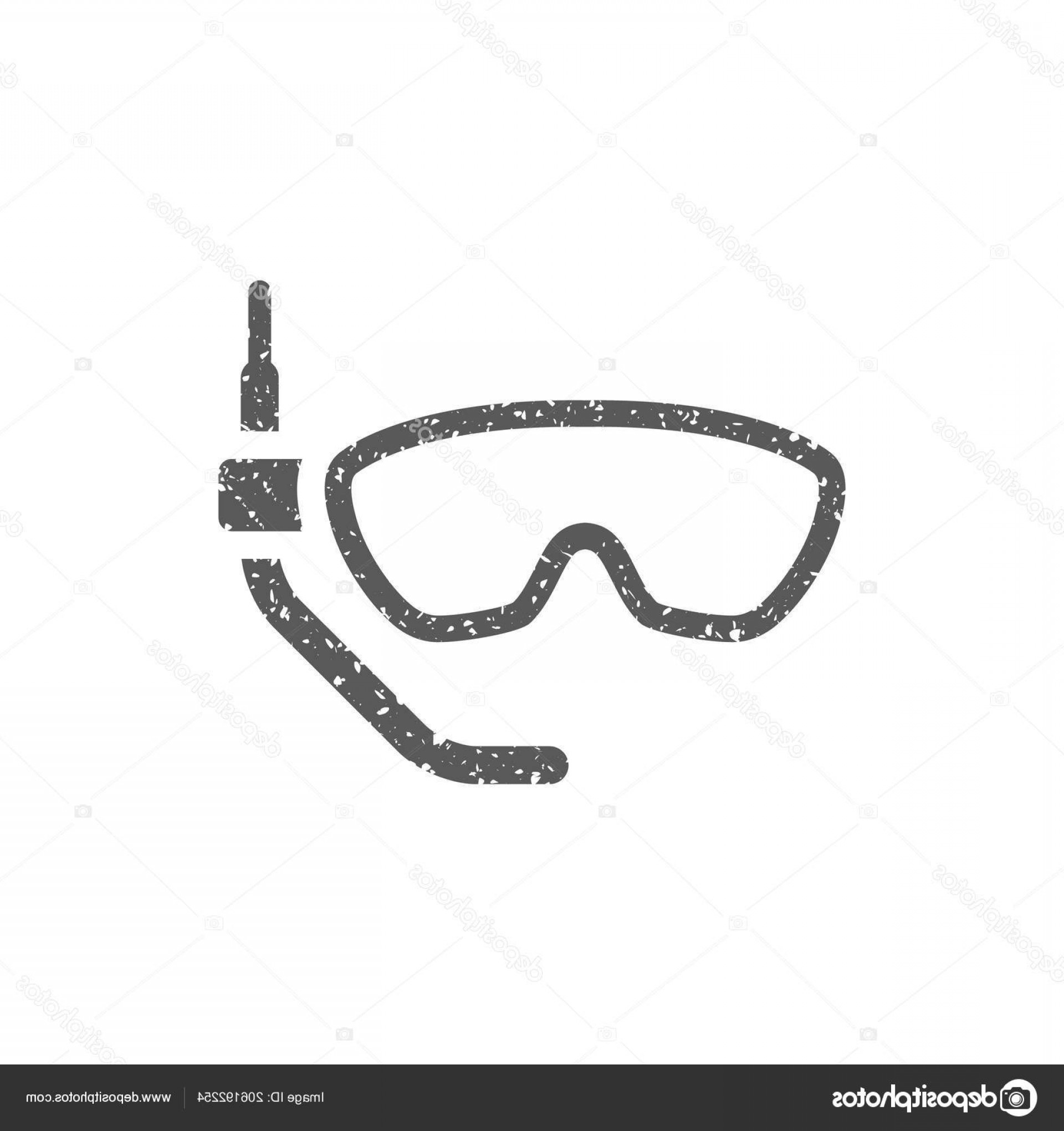 Dive Mask E Vectors: Stock Illustration Snorkel Mask Icon Grunge Texture