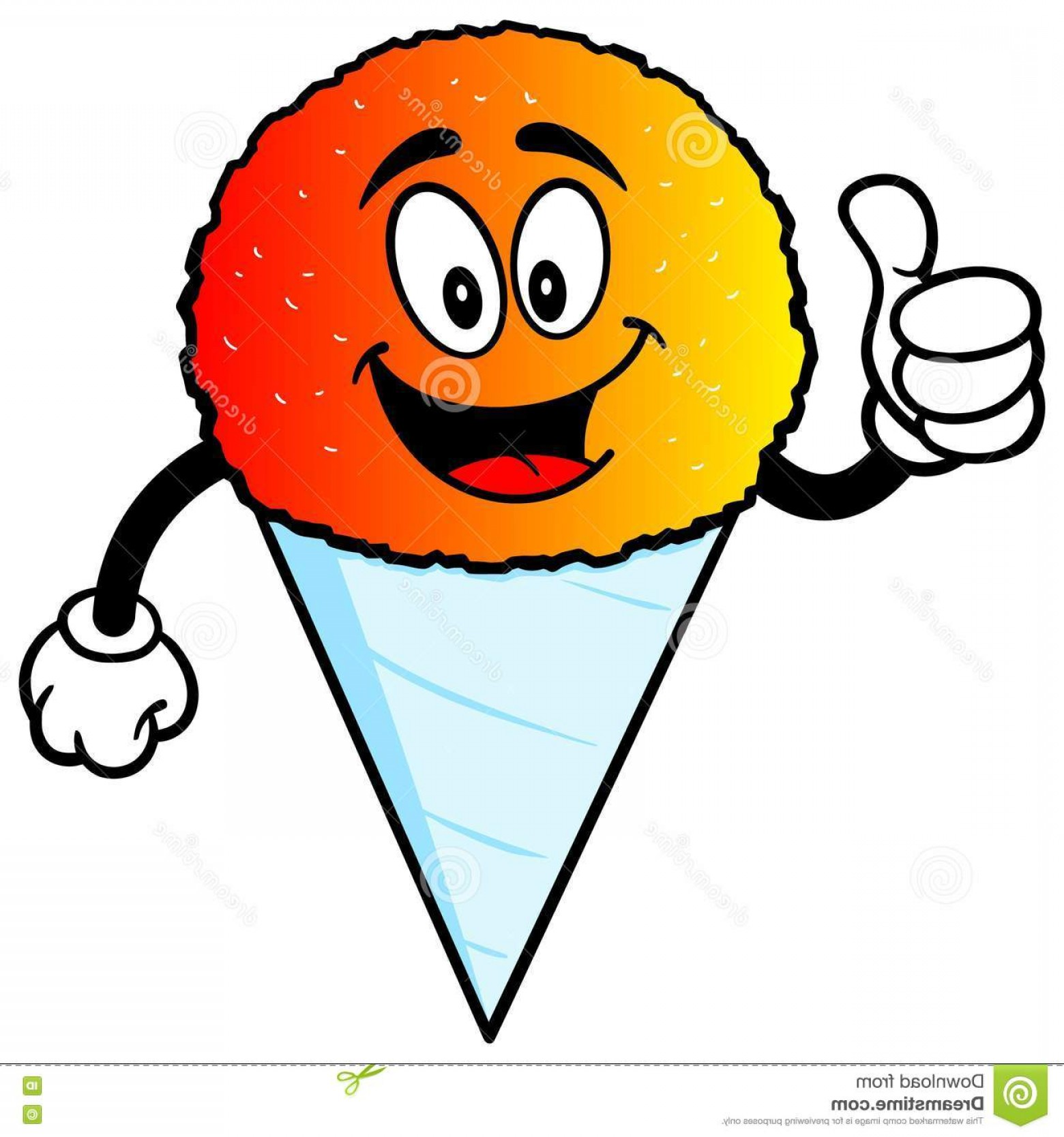 Snow Cone Outline Vector: Stock Illustration Snow Cone Thumbs Up Vector Illustration Image