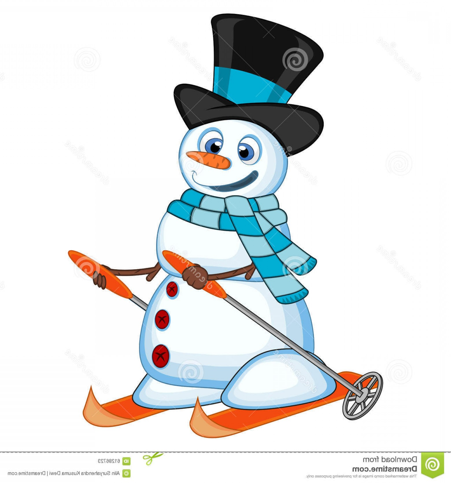 No Hat With Snowman Vector: Stock Illustration Snowman Hat Blue Scarf Skiing Your Design Vector Illustration Colourful Image