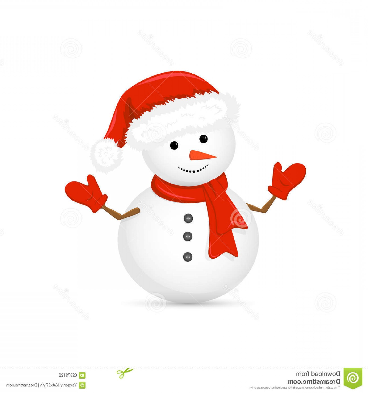 No Hat With Snowman Vector: Stock Illustration Snowman Santa Hat Red Scarf Christmas White Background Illustration Image