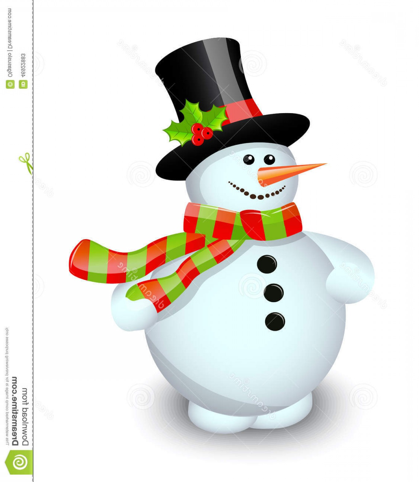 No Hat With Snowman Vector: Stock Illustration Snowman White Background Striped Scarf Hat Decorated Berries Image