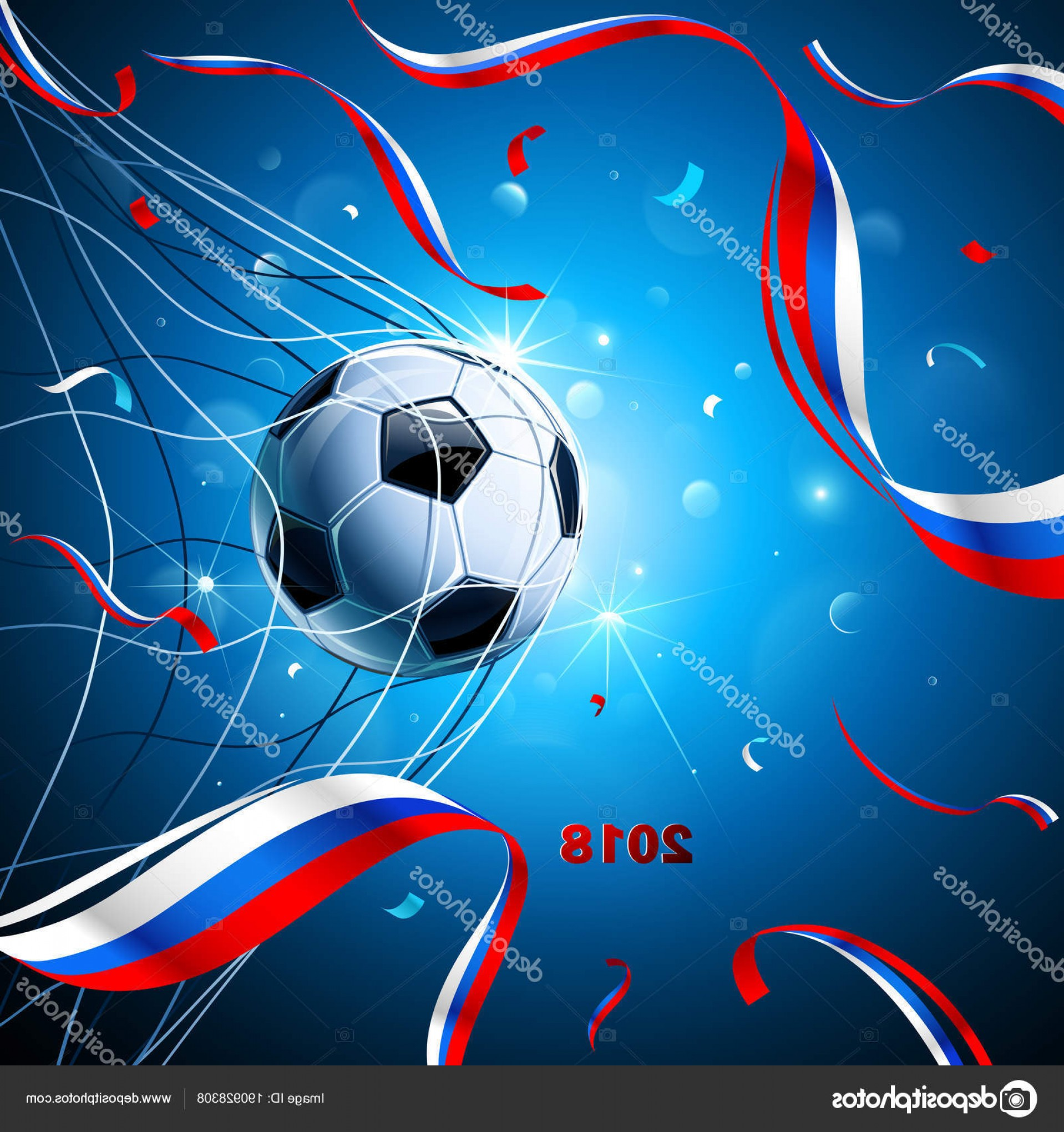 Soccer Blue Background Vector Graphics: Stock Illustration Soccer Ball With Confetti Vector