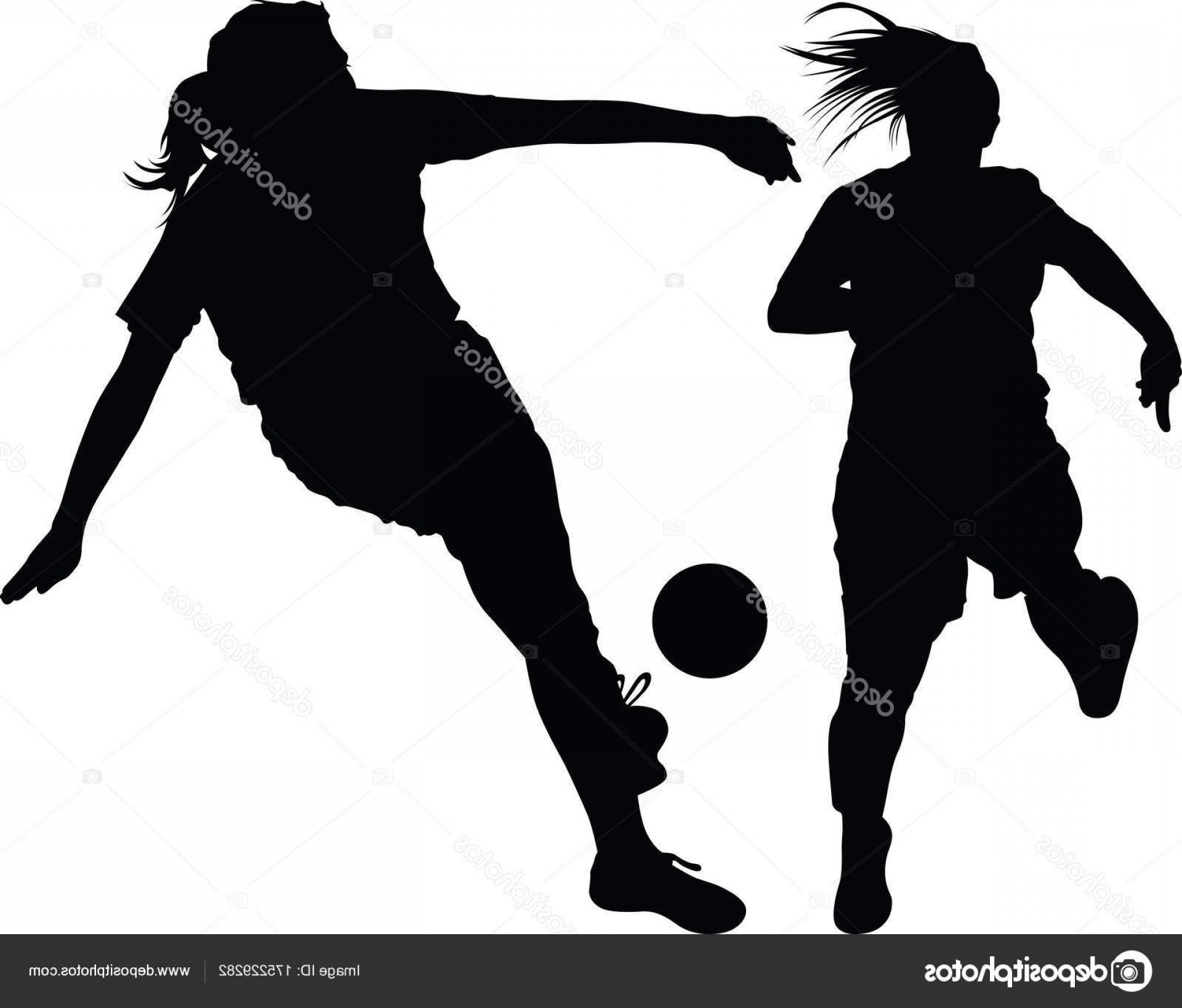 Vector Football Girl: Stock Illustration Soccer Women Silhouette Girl Play