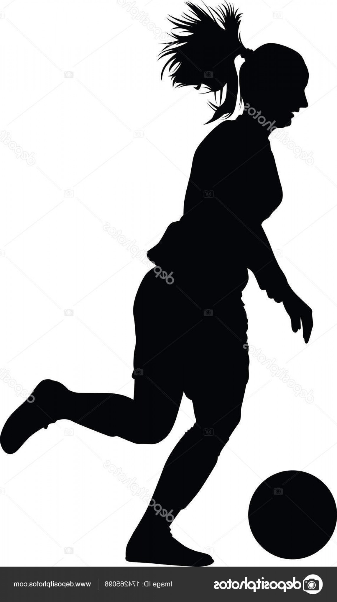 Vector Football Girl: Stock Illustration Soccer Women Silhouette Girl Player