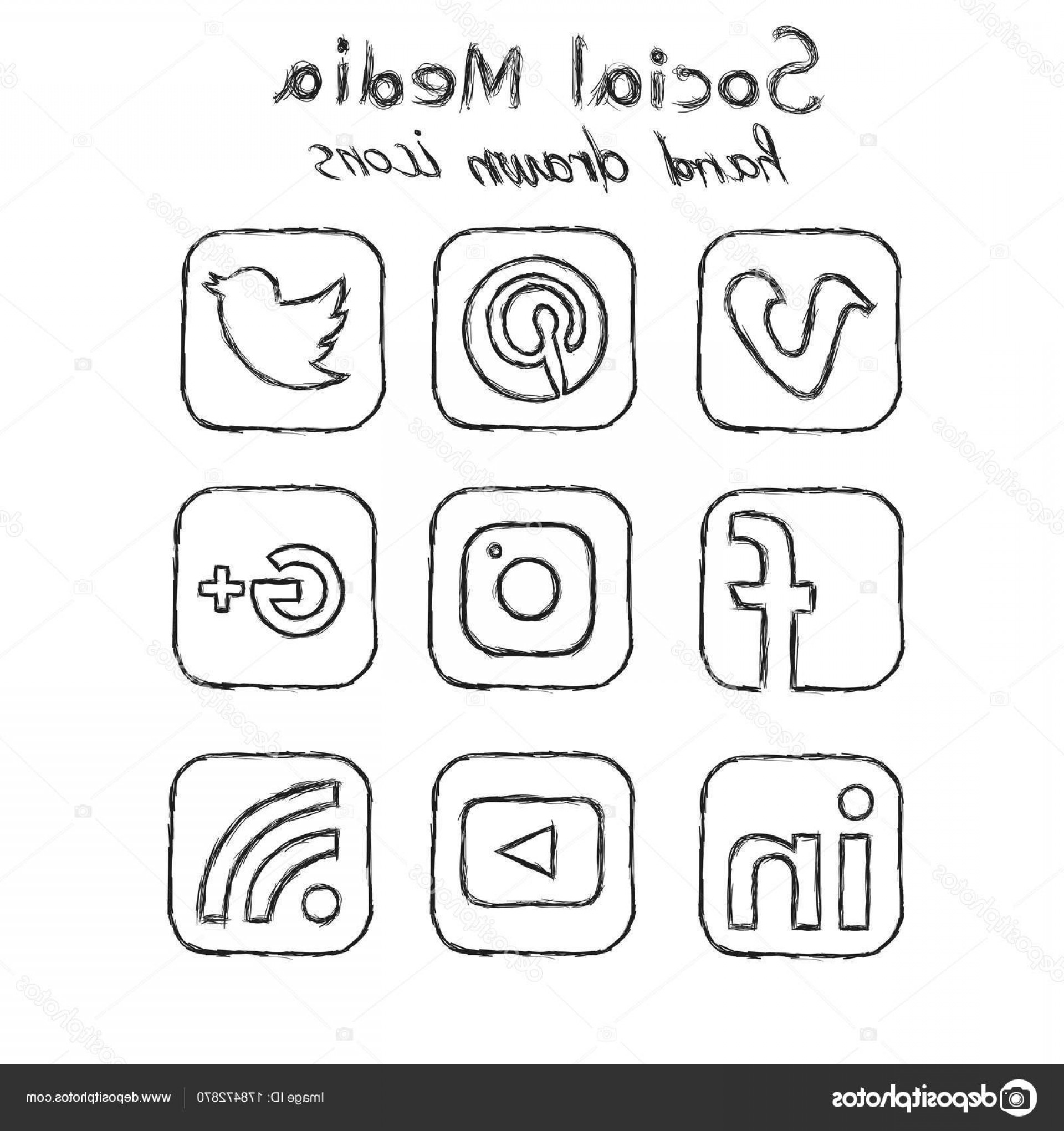 Pencil Icon Vectors Social Media: Stock Illustration Social Media Hand Drawn Icons