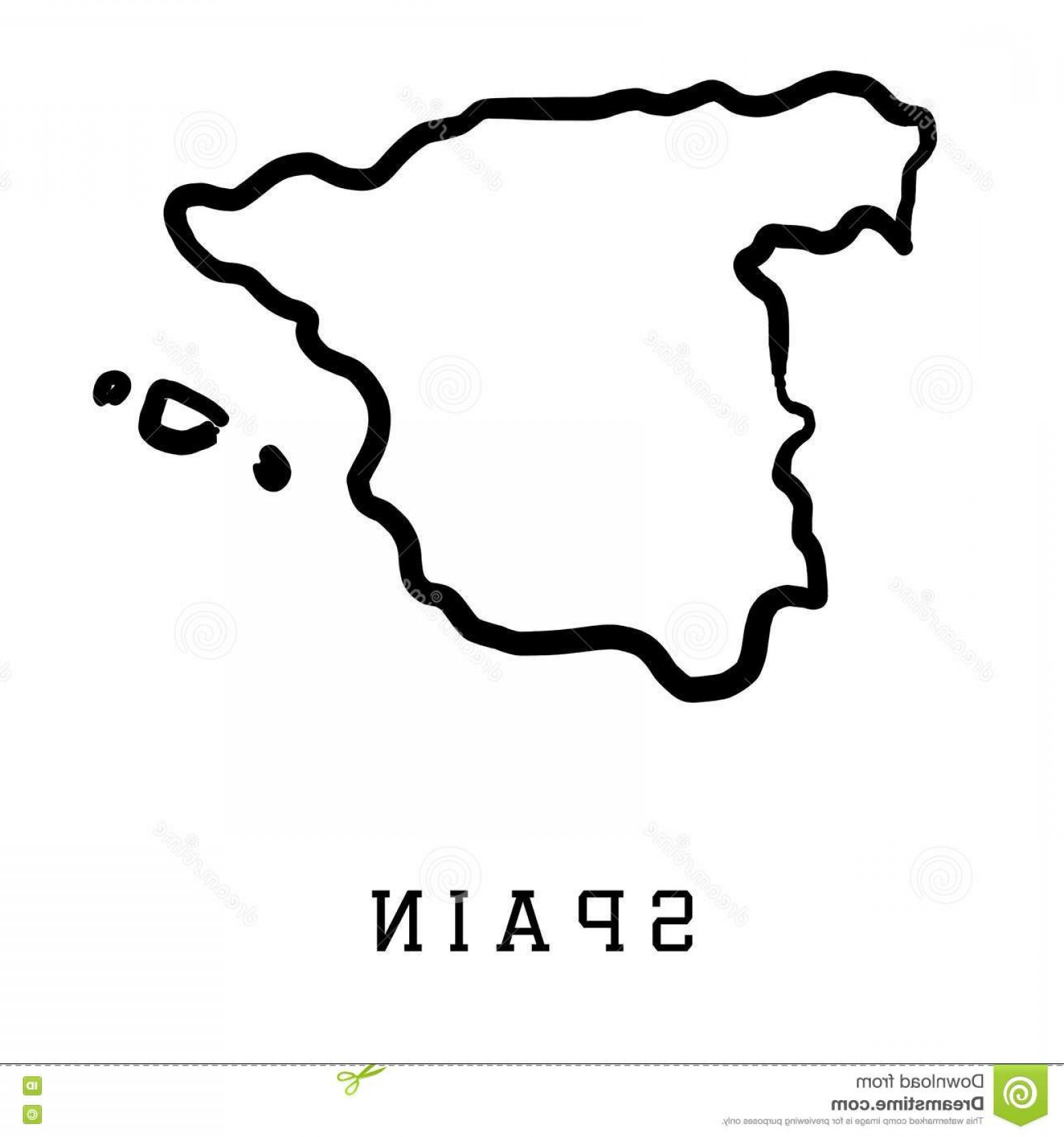 Spain Outline Vector: Stock Illustration Spain Outline Map Smooth Country Shape Vector Image