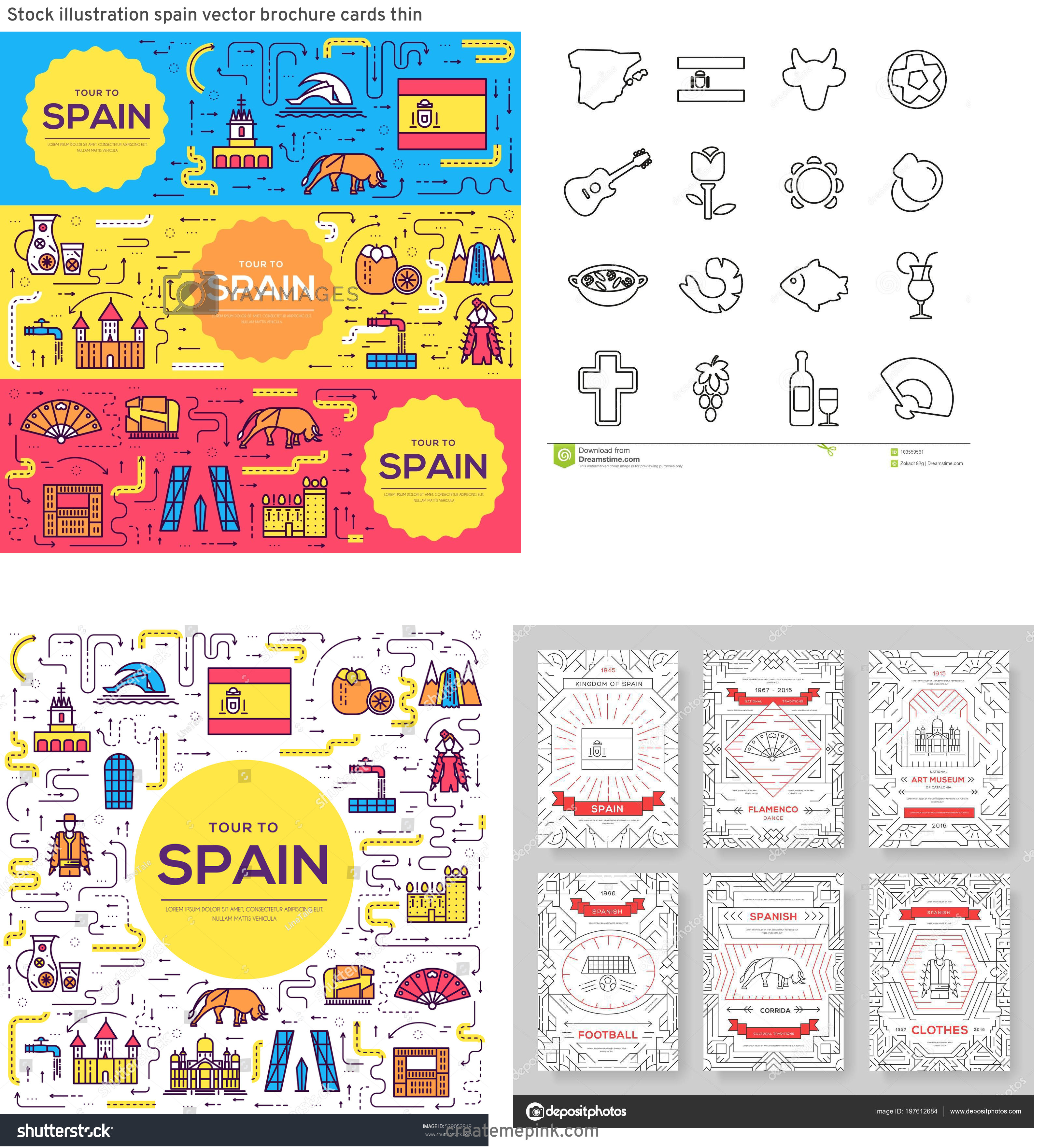 Spain Country Vectors Line: Stock Illustration Spain Vector Brochure Cards Thin