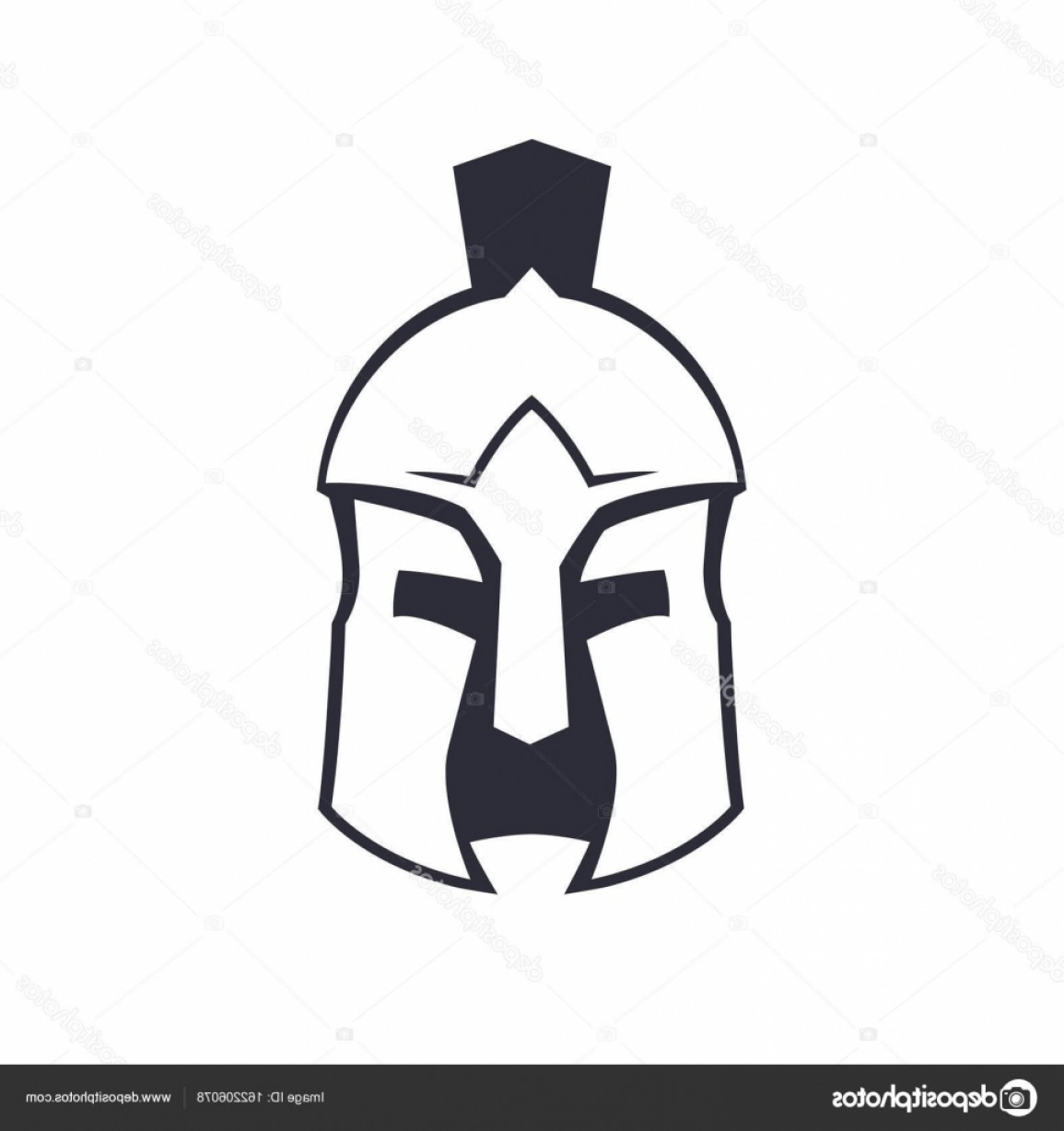 Boba Fett Vector Black And White: Stock Illustration Spartan Greek Helmet Over White