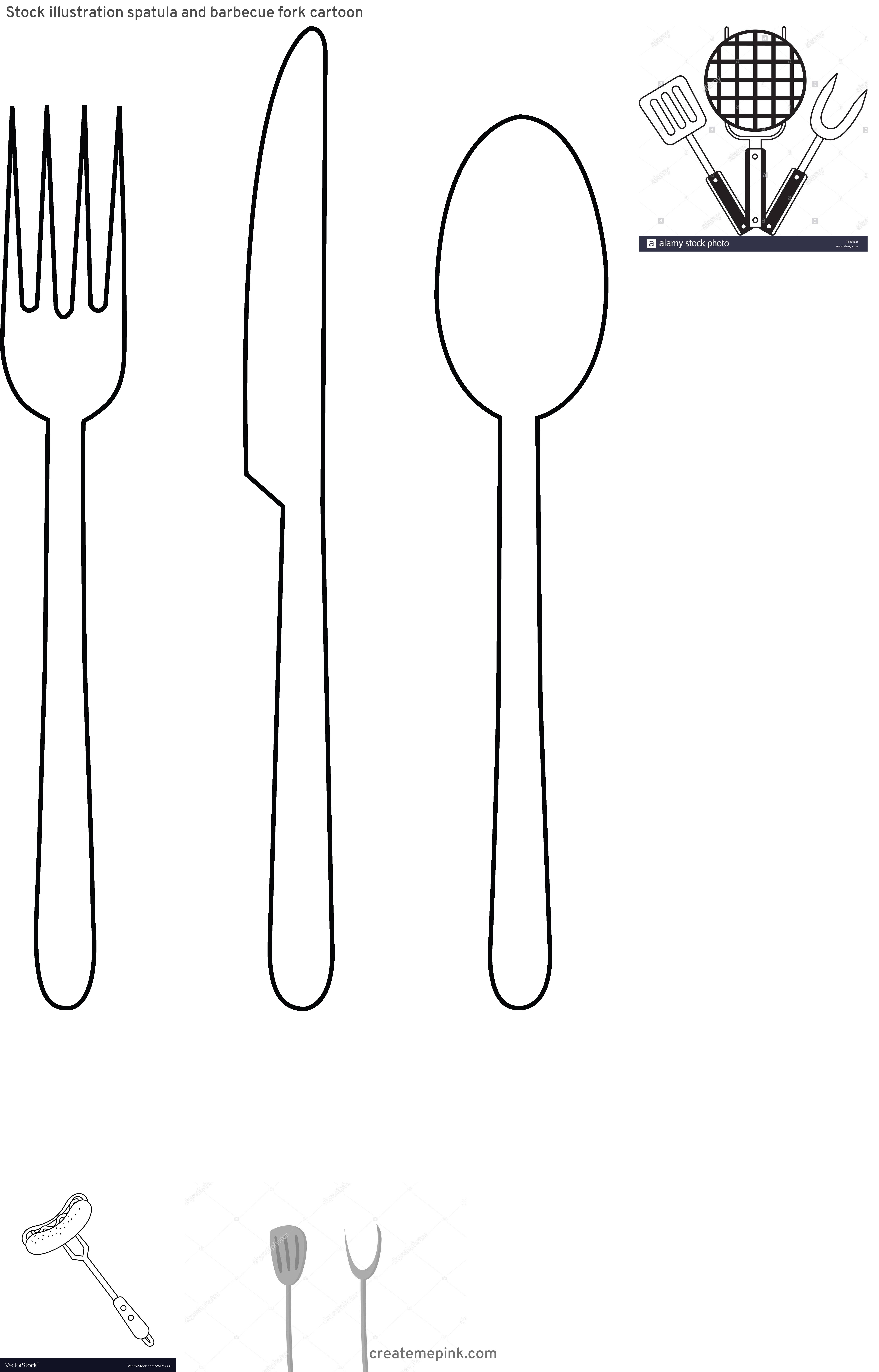 BBQ Fork Vector: Stock Illustration Spatula And Barbecue Fork Cartoon