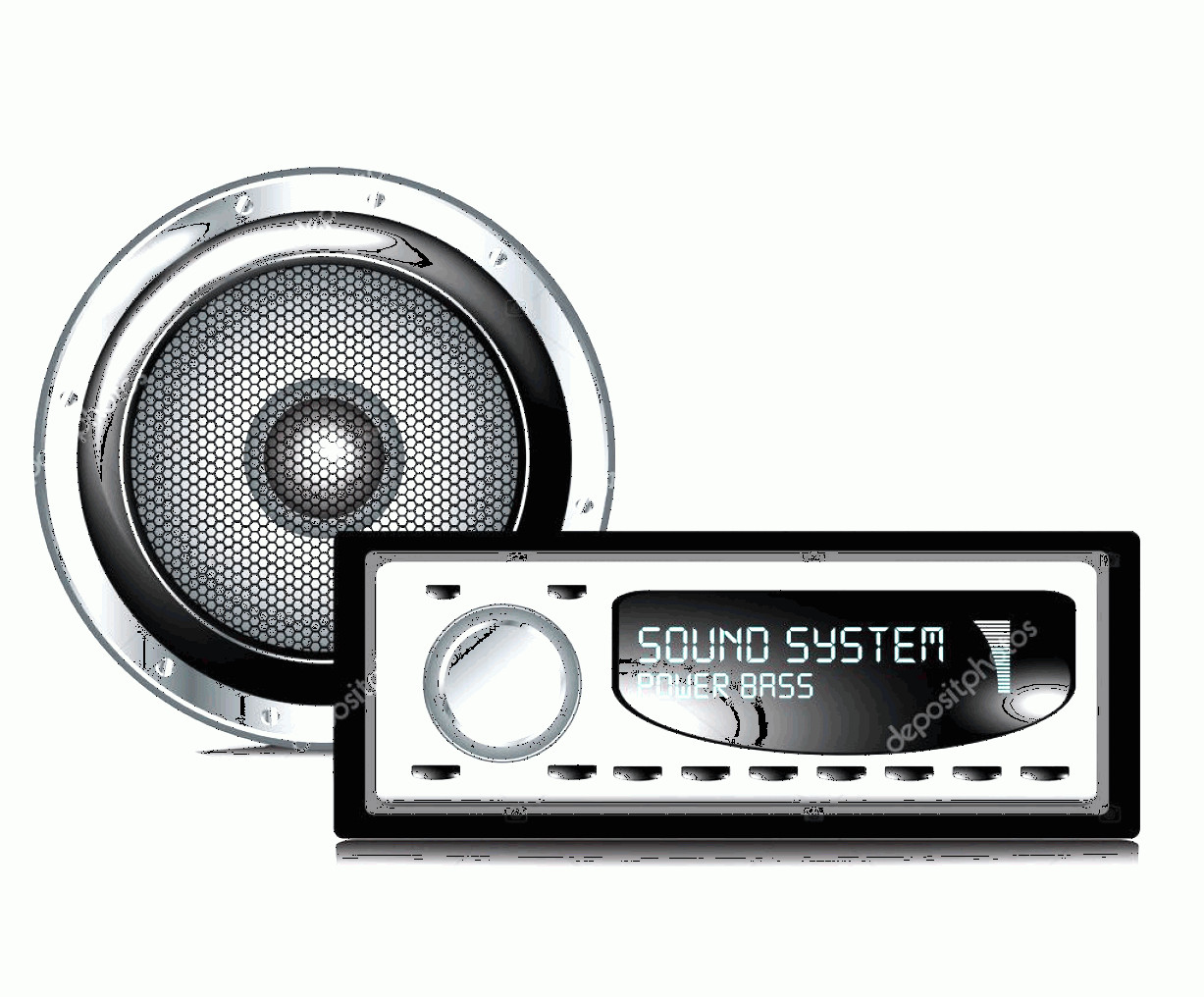 Car Audio Vector: Stock Illustration Speaker And Car Audio Player