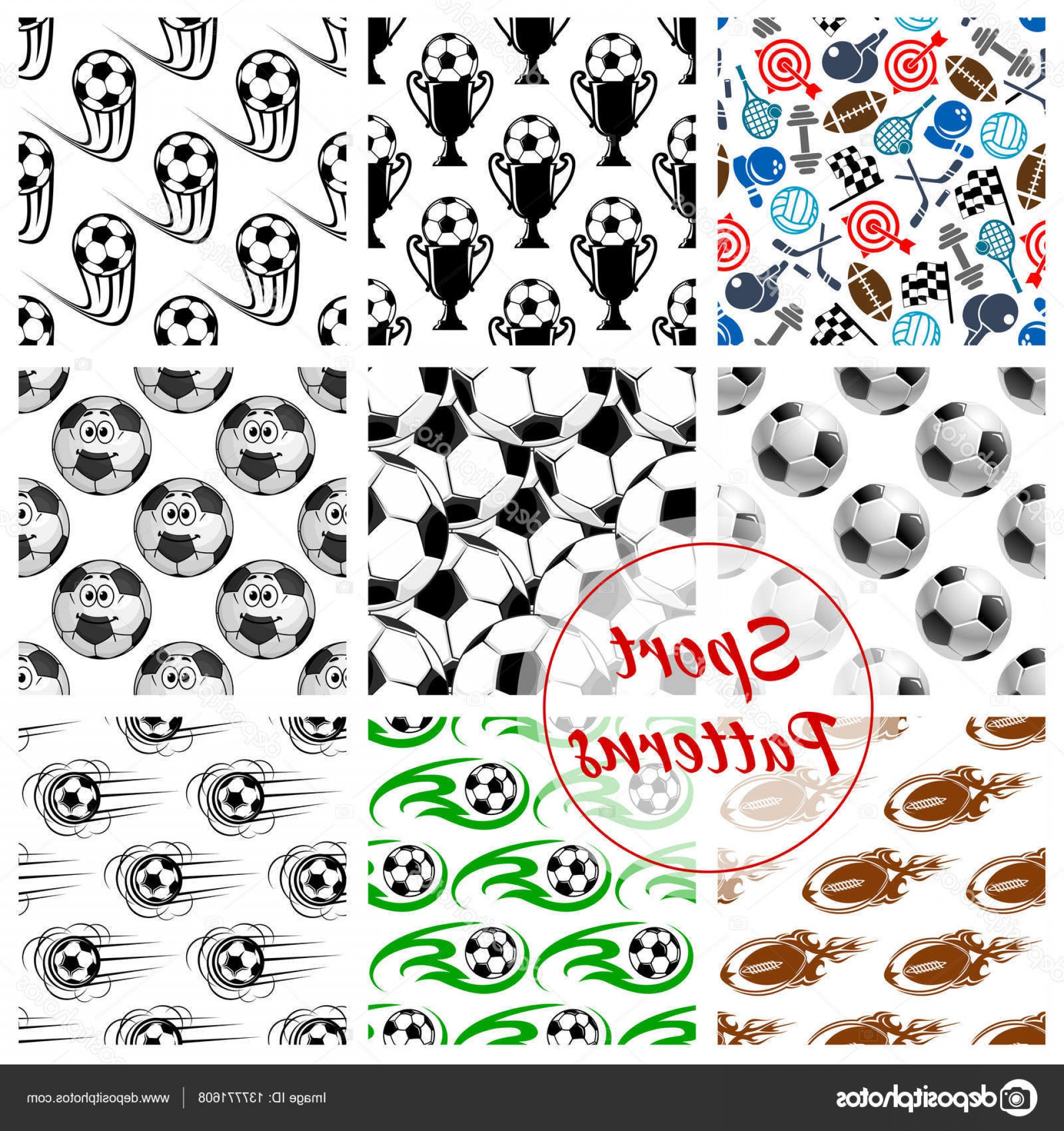 Hockey Vector Patterns: Stock Illustration Sport Balls And Items Seamless
