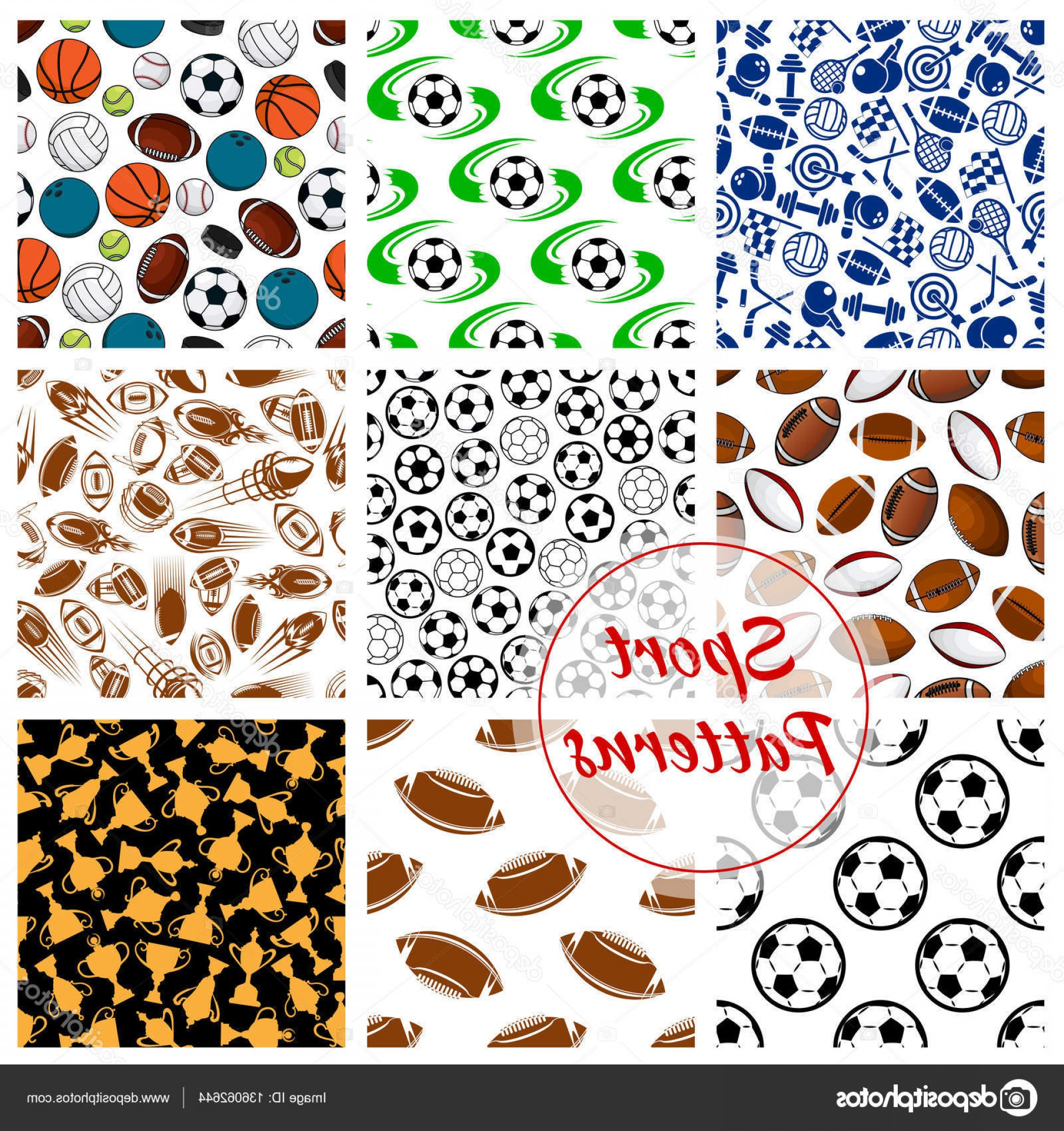 Hockey Vector Patterns: Stock Illustration Sport Balls Fitness Items Seamless