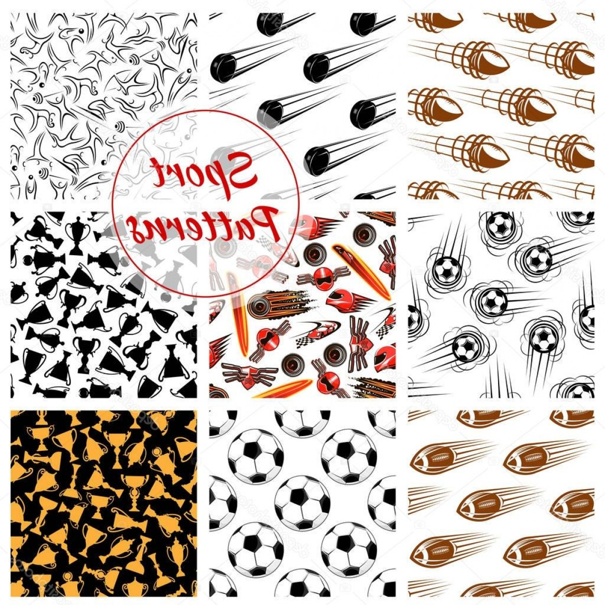 Hockey Vector Patterns: Stock Illustration Sport Balls Items Seamless Patterns