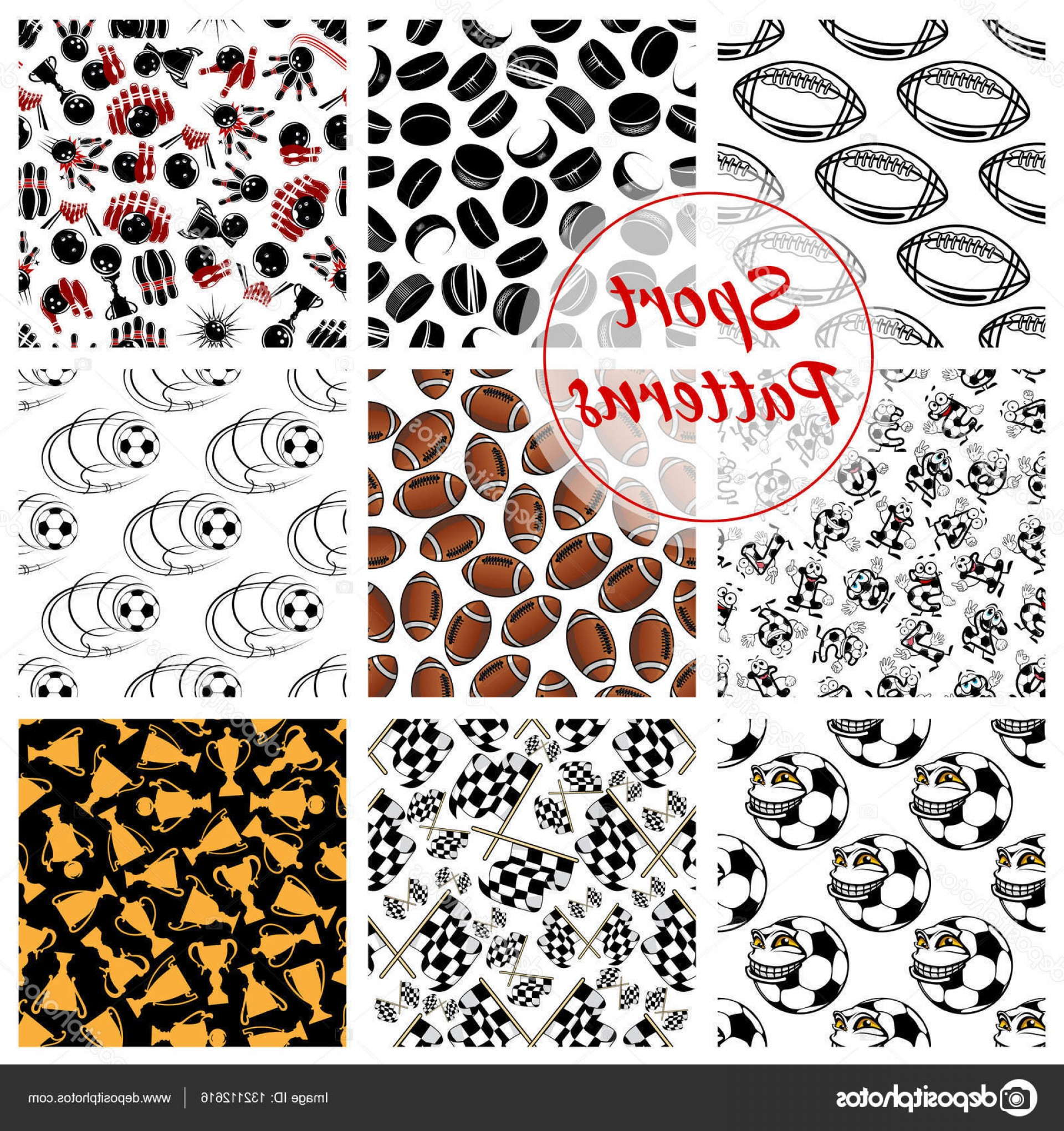 Hockey Vector Patterns: Stock Illustration Sport Seamless Patterns Set Of