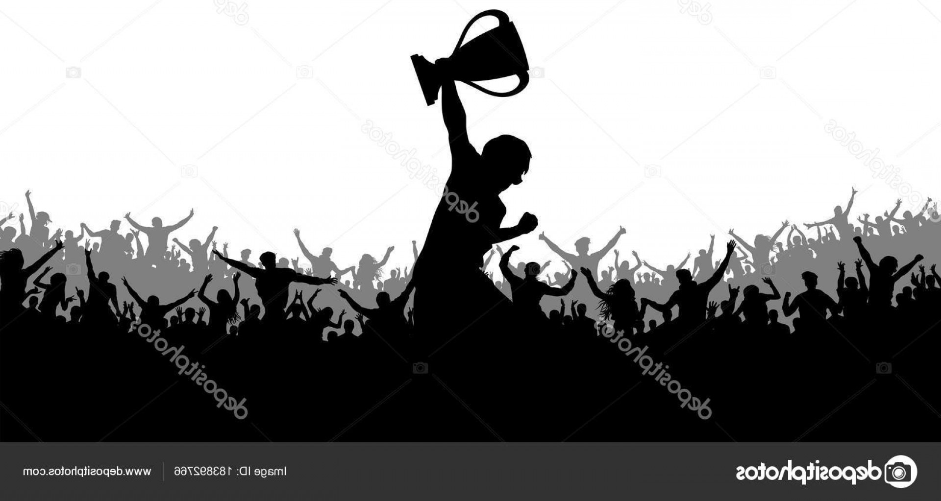 Vector Sports Crowd Cheering: Stock Illustration Sport Victory Cup Cheering Crowd