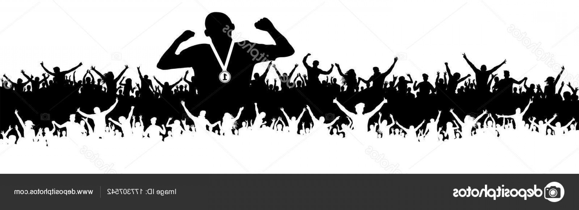 Vector Sports Crowd Cheering: Stock Illustration Sports Man Victory Silhouette Crowd
