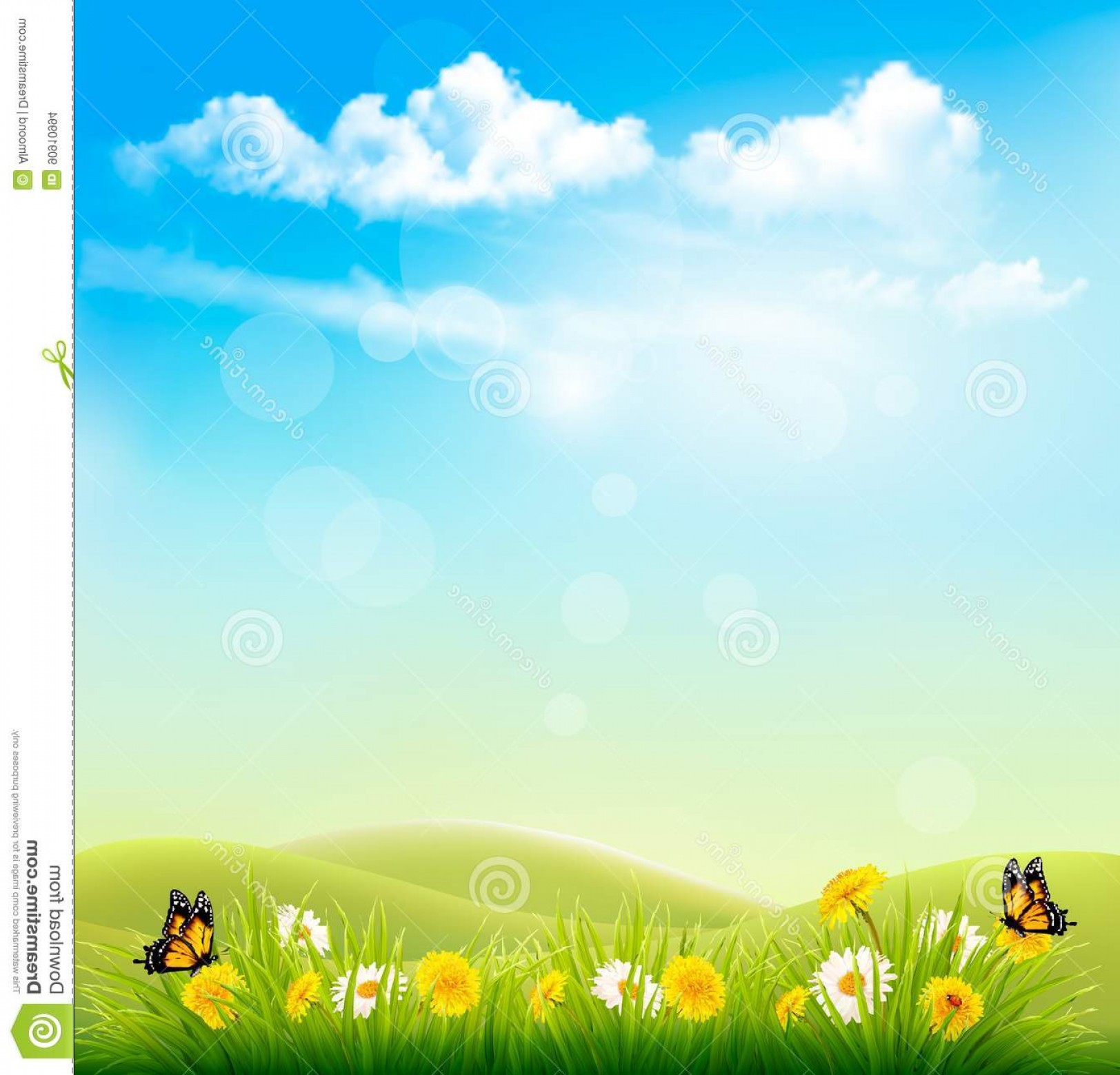 Vector Natural Background Sky: Stock Illustration Spring Nature Background Green Grass Blue Sky Clouds Vector Image