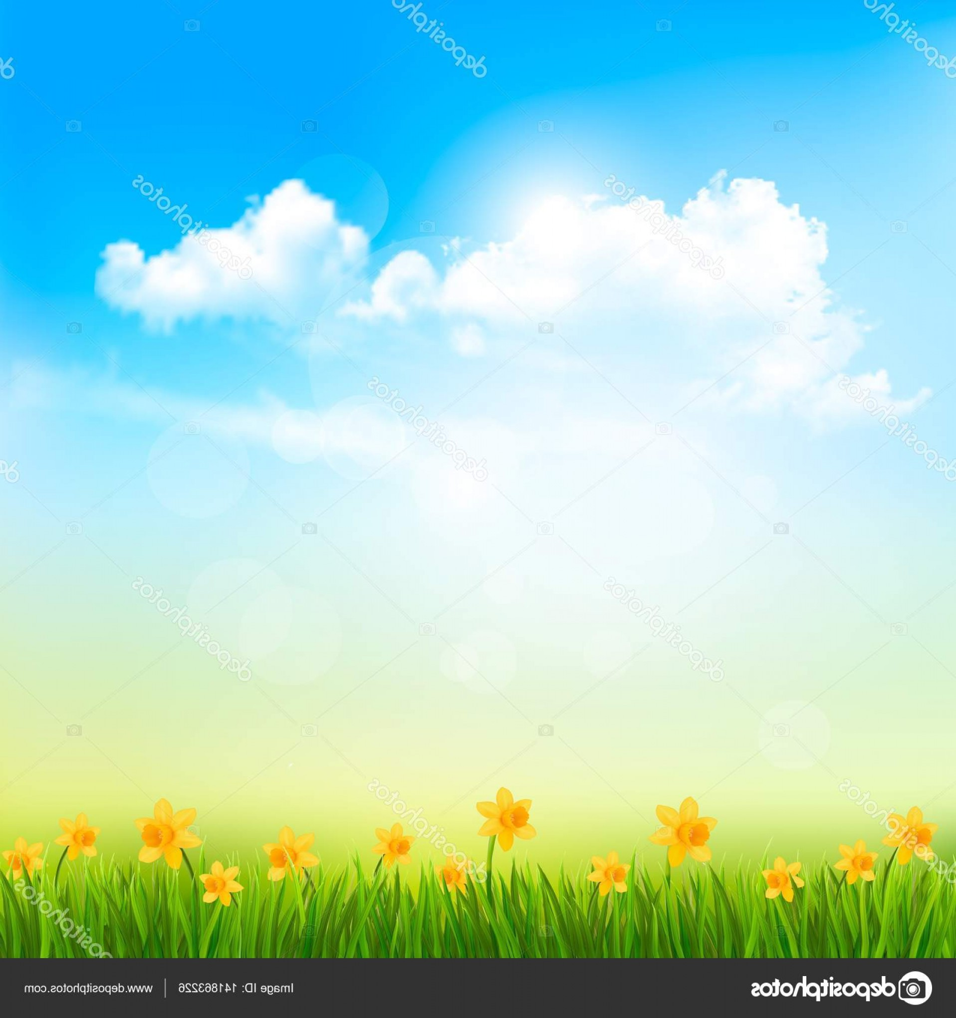 Vector Natural Background Sky: Stock Illustration Spring Nature Background With A