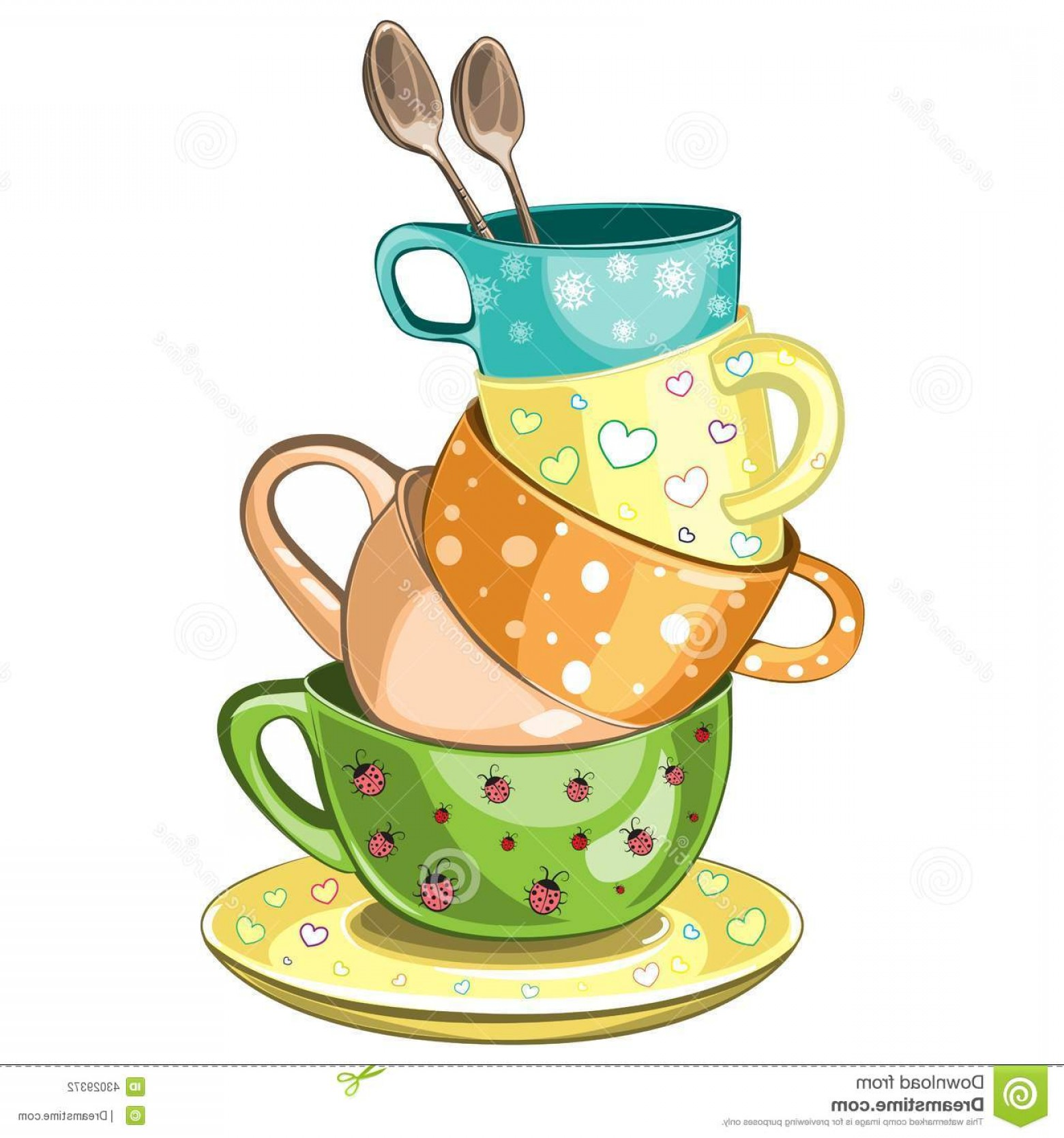Vintage Tea Cup Vector: Stock Illustration Stacked Tea Cups Fancy Multi Colored Vector Illustration Image